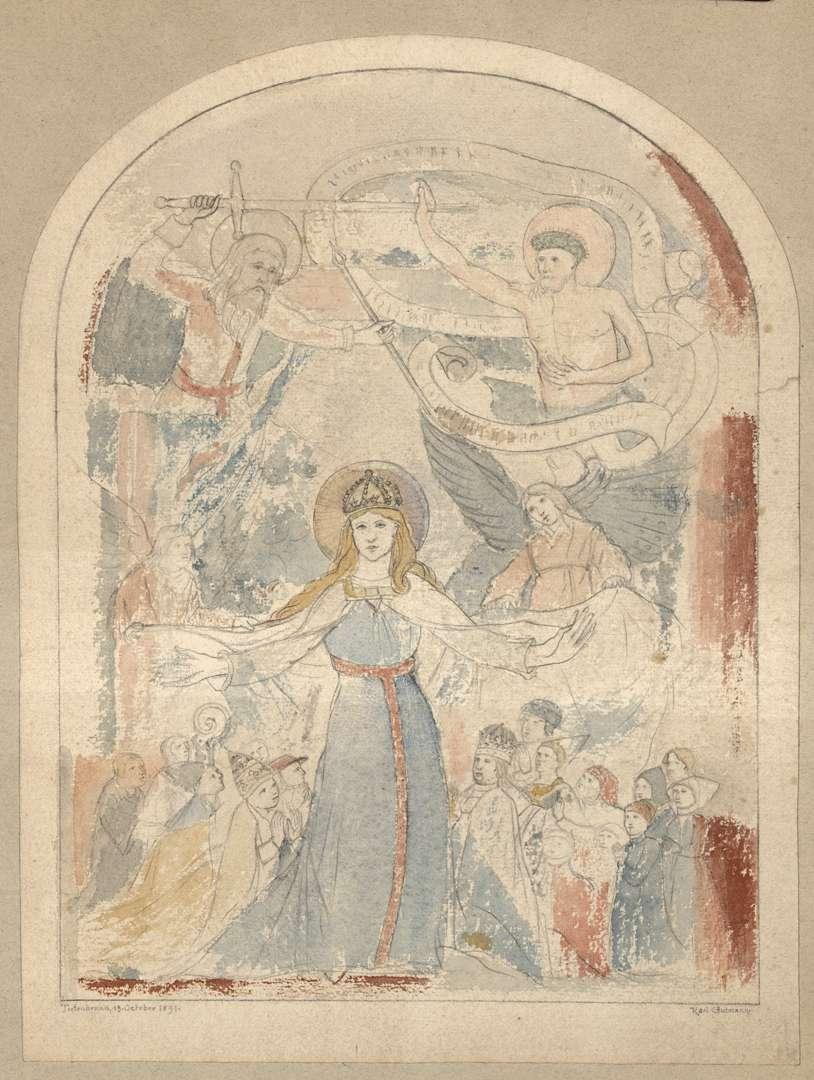 Tiefenbronn Katholische Pfarrkirche St. Maria Magdalena Schutzmantel-Madonna an der Nordwand, Bild 1