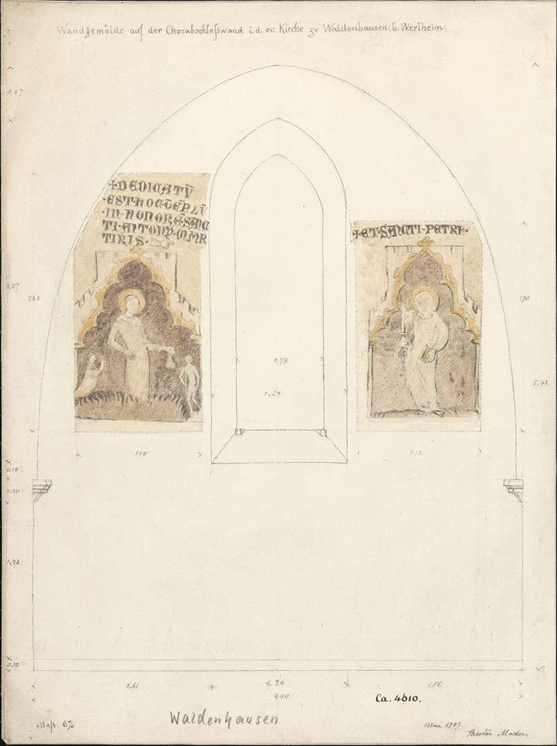 Waldenhausen Evangelische Kirche Heiliger Antonius von Rom, Märtyrer, und der Apostel Petrus auf der Chorabschlusswand, Bild 1
