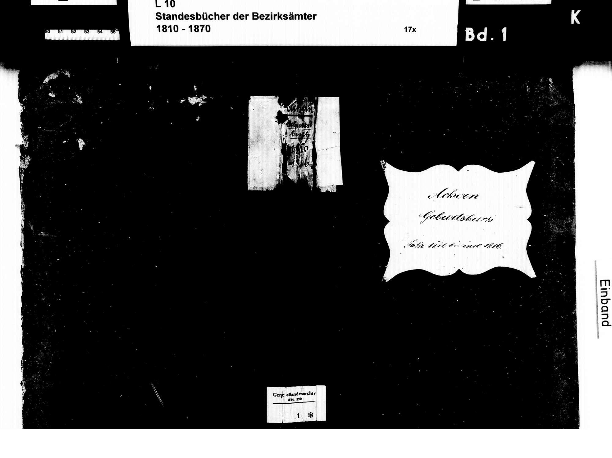 Achern OG; Katholische Gemeinde: Geburtenbuch 1810-1816, Bild 1