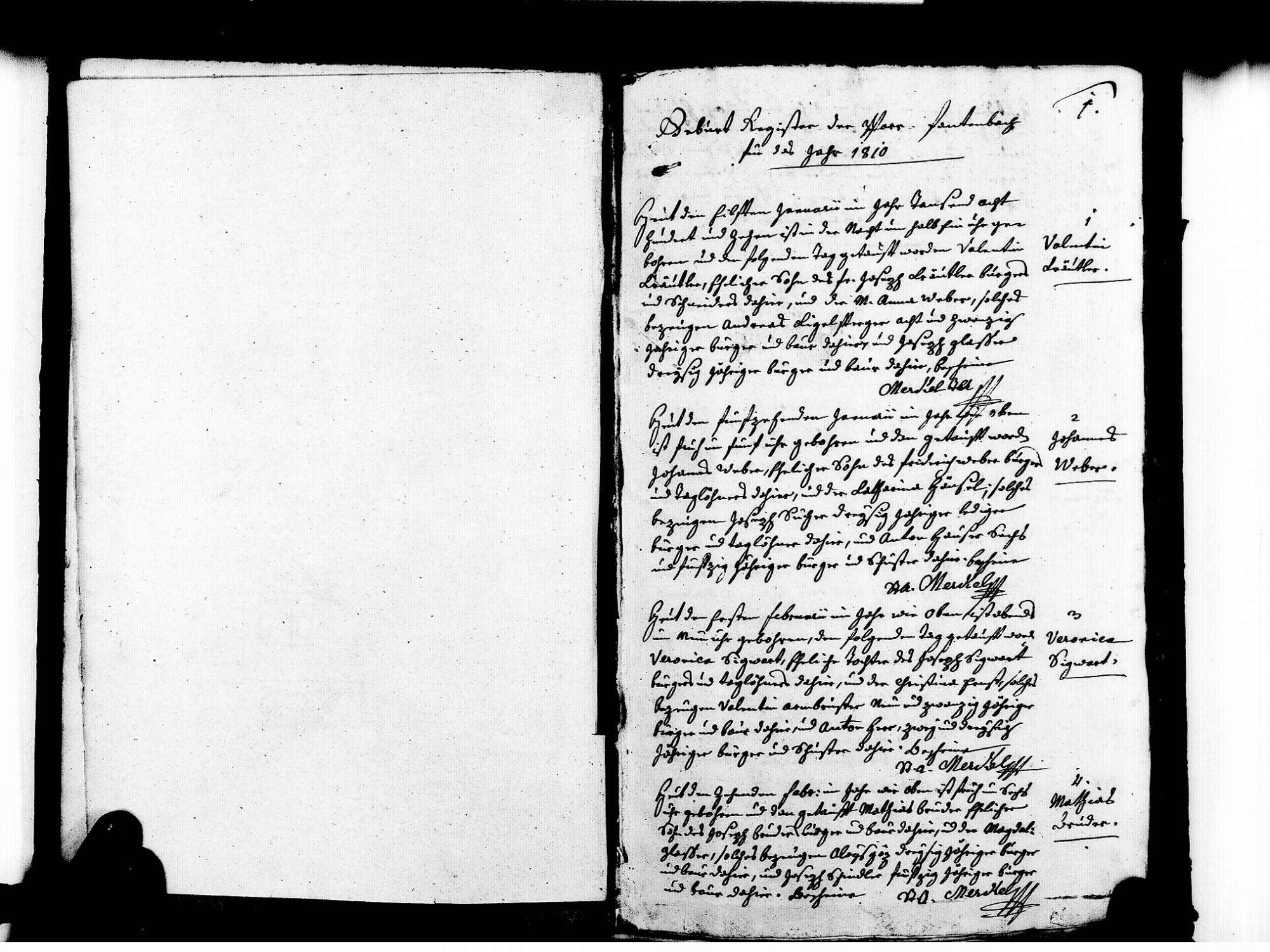 Fautenbach, Achern OG; Katholische Gemeinde: Geburtenbuch 1810-1837, Bild 3 (fol. 1)