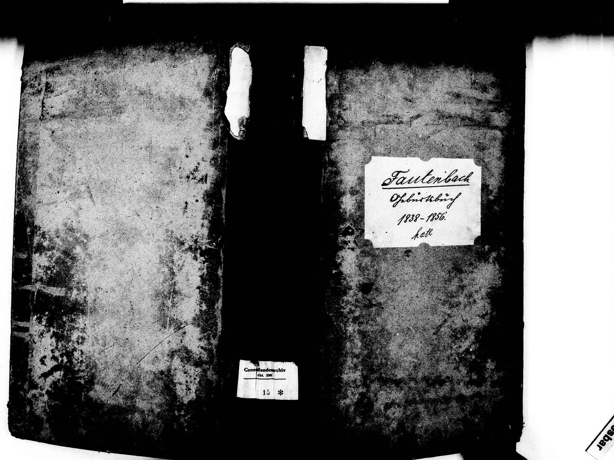 Fautenbach, Achern OG; Katholische Gemeinde: Geburtenbuch 1838-1856, Bild 1