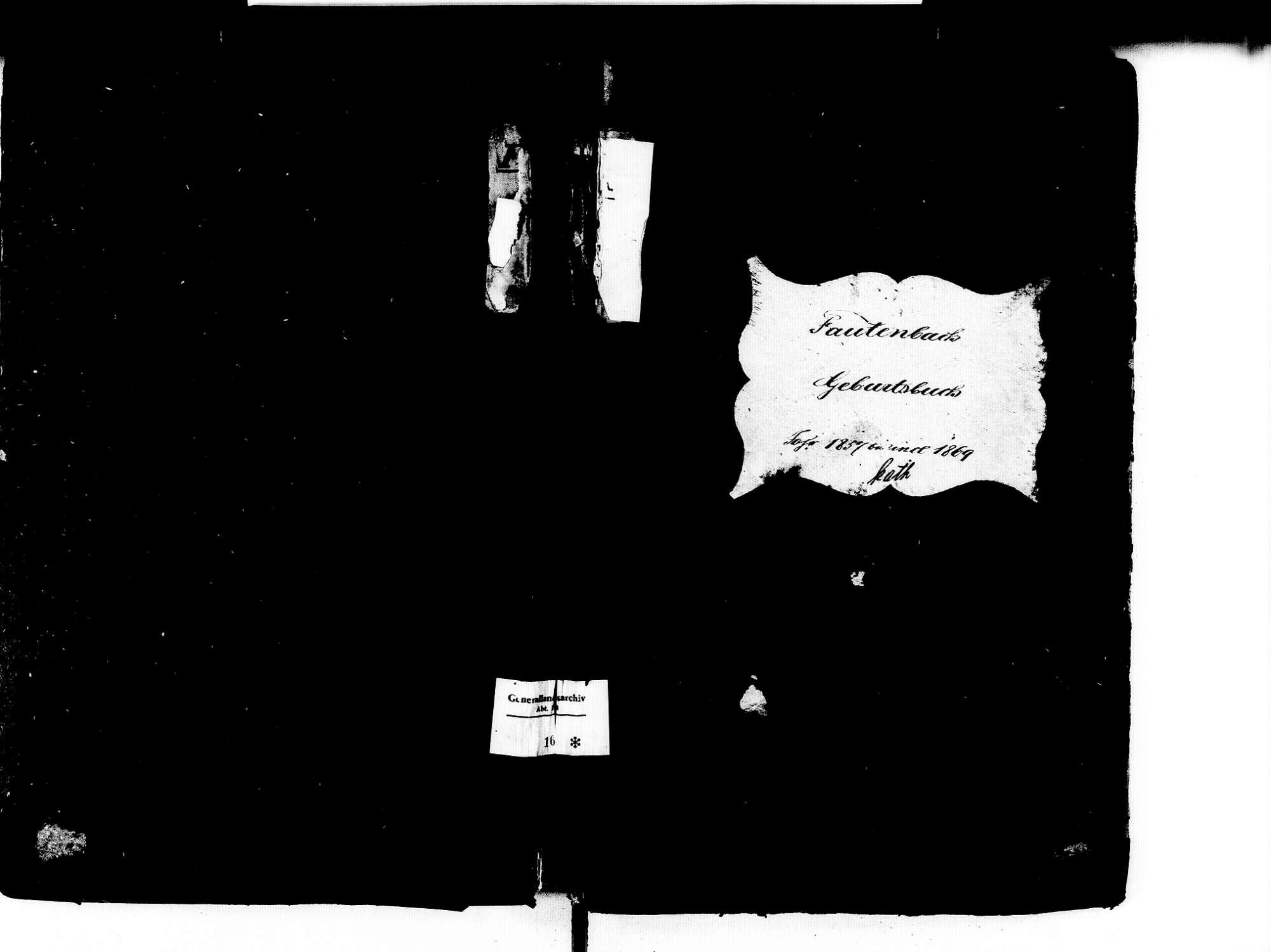 Fautenbach, Achern OG; Katholische Gemeinde: Geburtenbuch 1857-1869, Bild 1