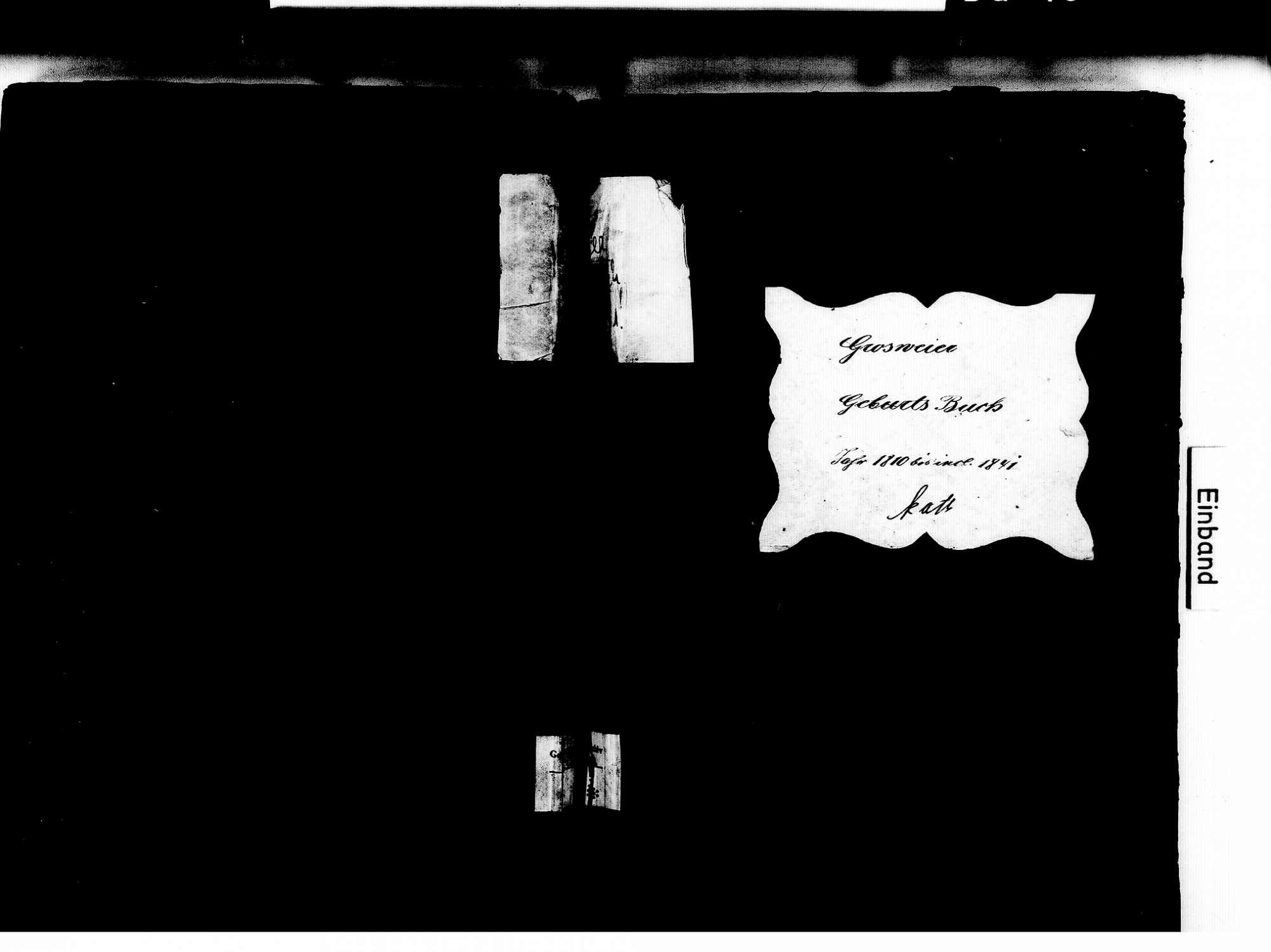 Großweier, Achern OG; Katholische Gemeinde: Geburtenbuch 1810-1841, Bild 1