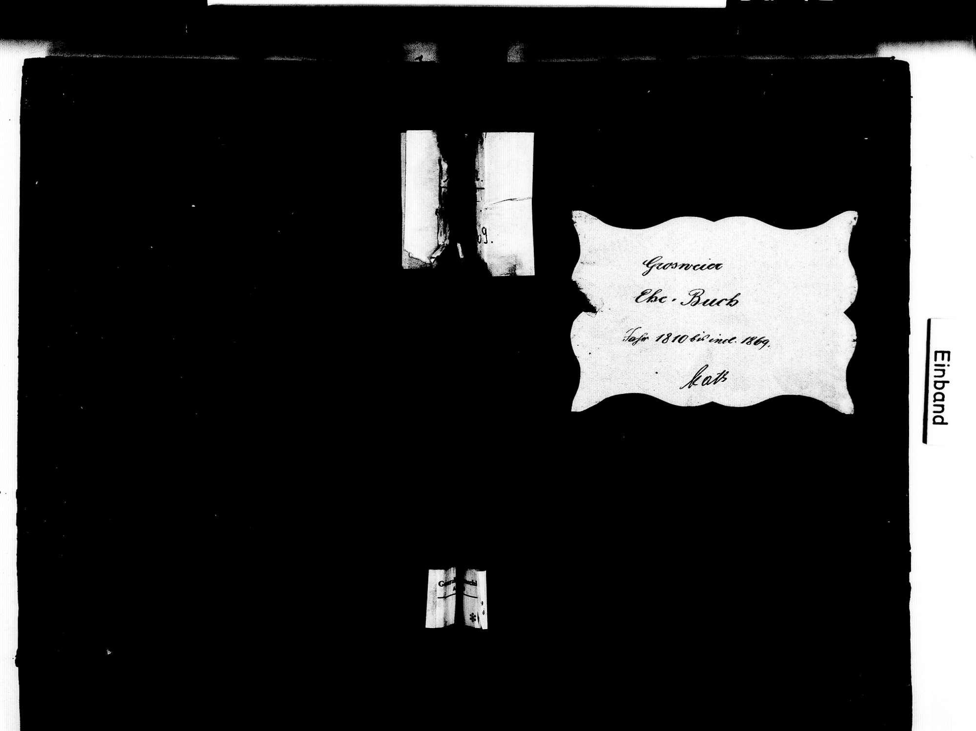 Großweier, Achern OG; Katholische Gemeinde: Heiratsbuch 1810-1869, Bild 1