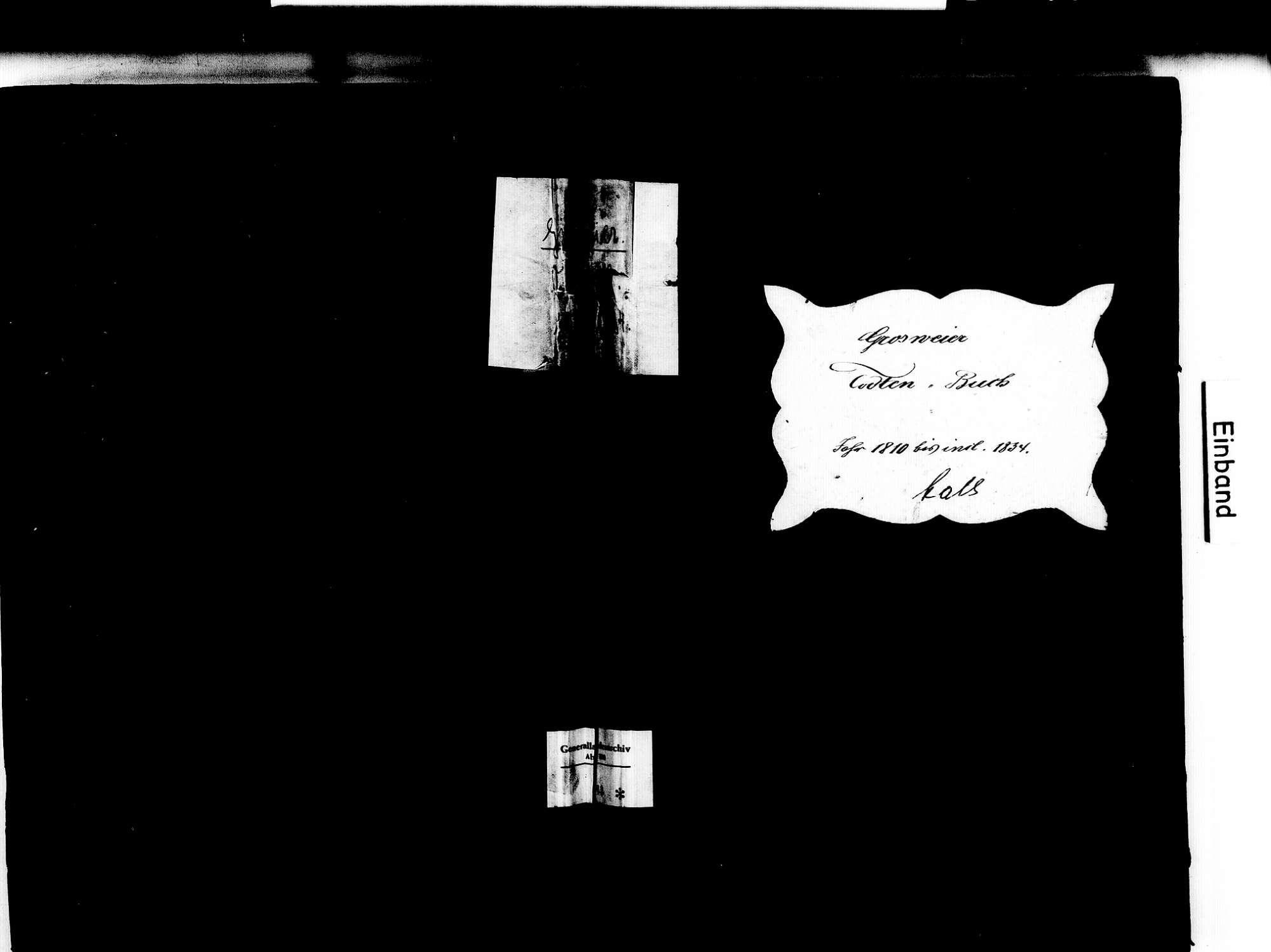 Großweier, Achern OG; Katholische Gemeinde: Sterbebuch 1810-1834, Bild 1