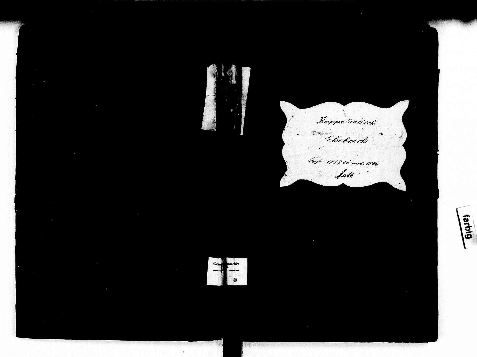 Kappelrodeck OG; Katholische Gemeinde: Heiratsbuch 1857-1869, Bild 1