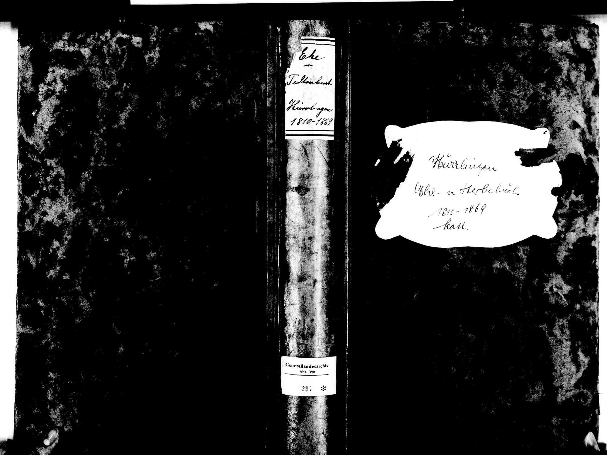 Hürrlingen, Ühlingen-Birkendorf WT; Katholische Gemeinde: Heirats- und Sterbebuch 1810-1869, Bild 1