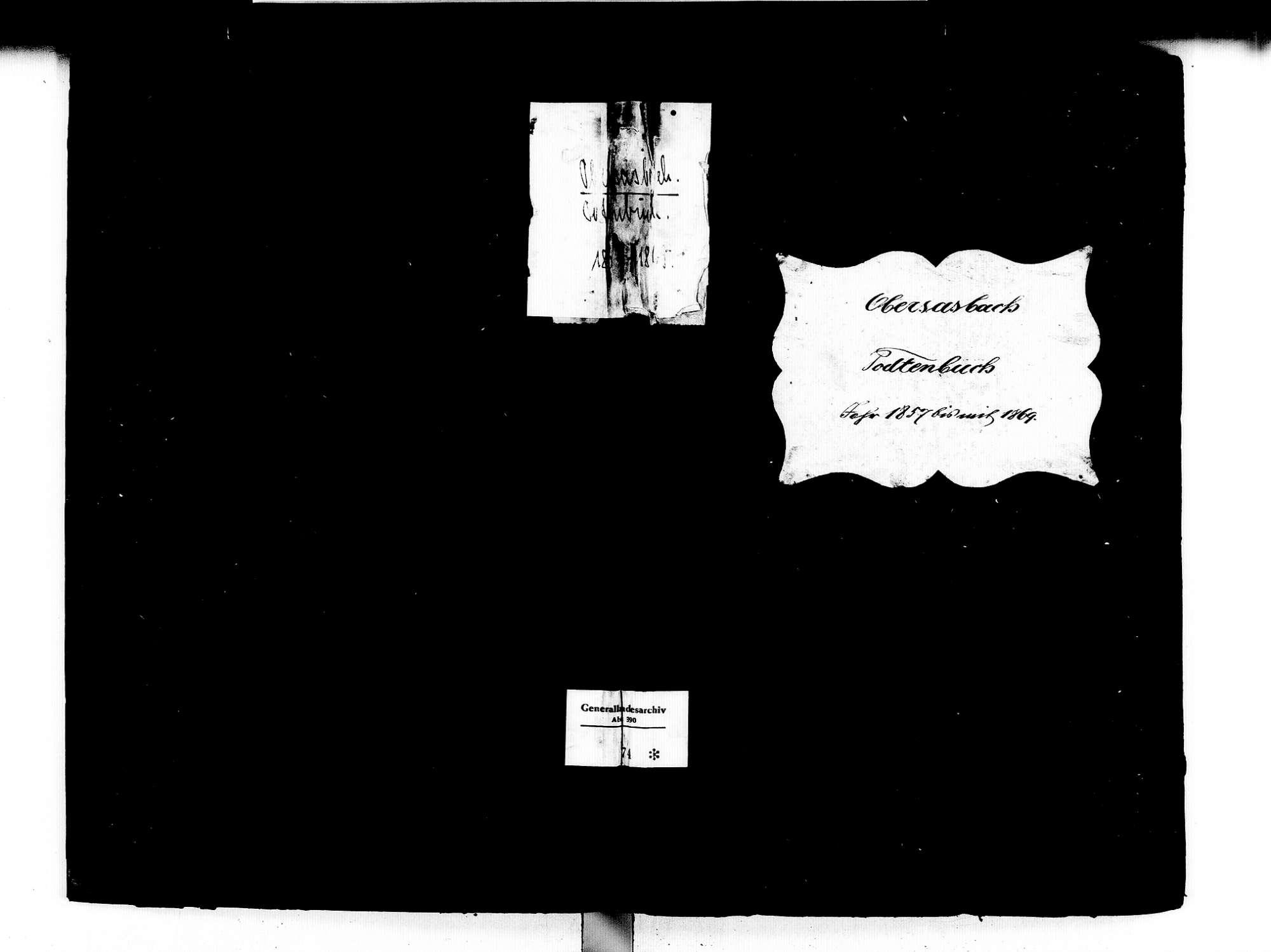 Obersasbach, Sasbach OG; Katholische Gemeinde: Sterbebuch 1857-1869, Bild 1