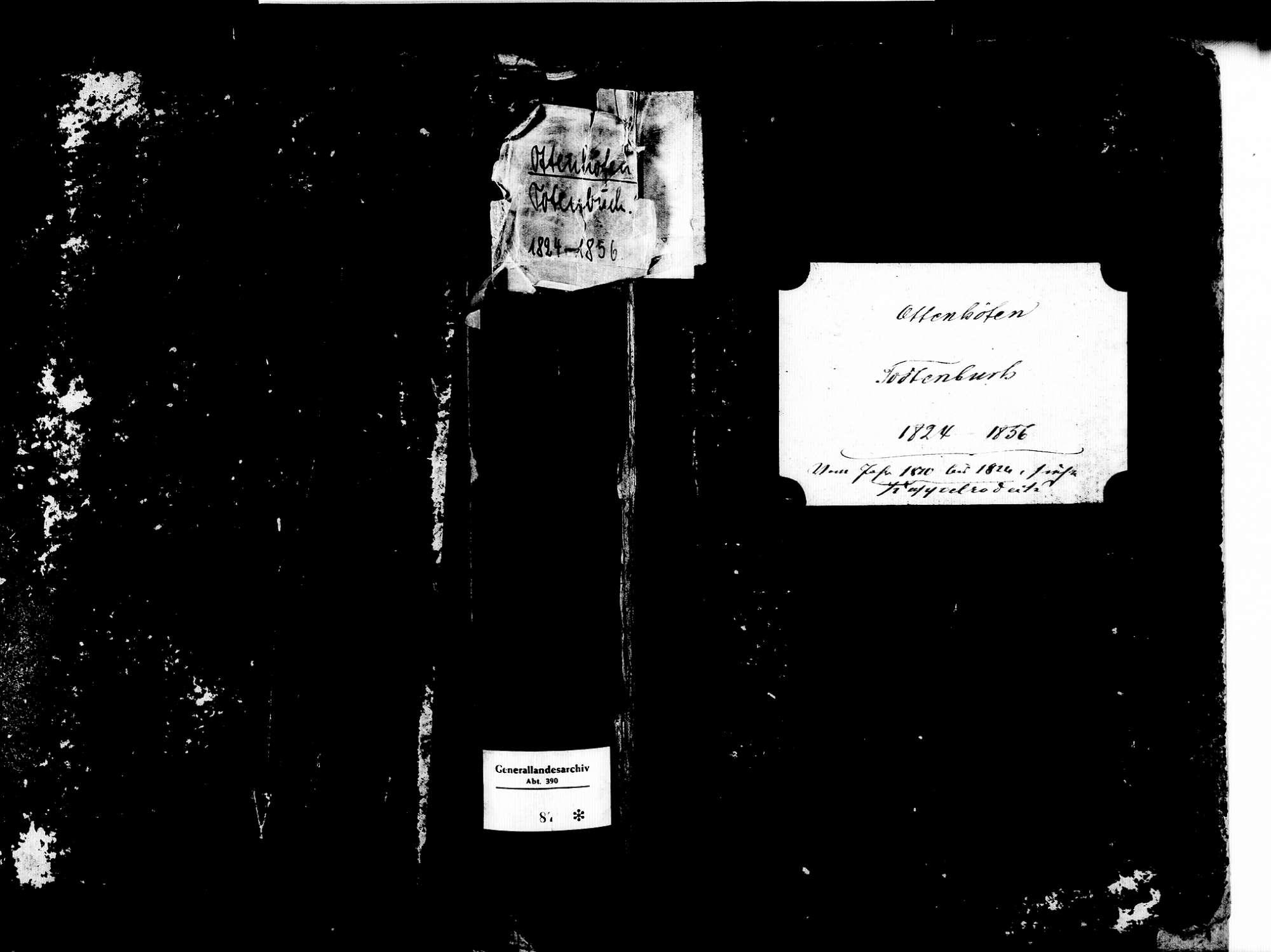 Ottenhöfen im Schwarzwald OG; Katholische Gemeinde: Sterbebuch 1824-1856, Bild 1