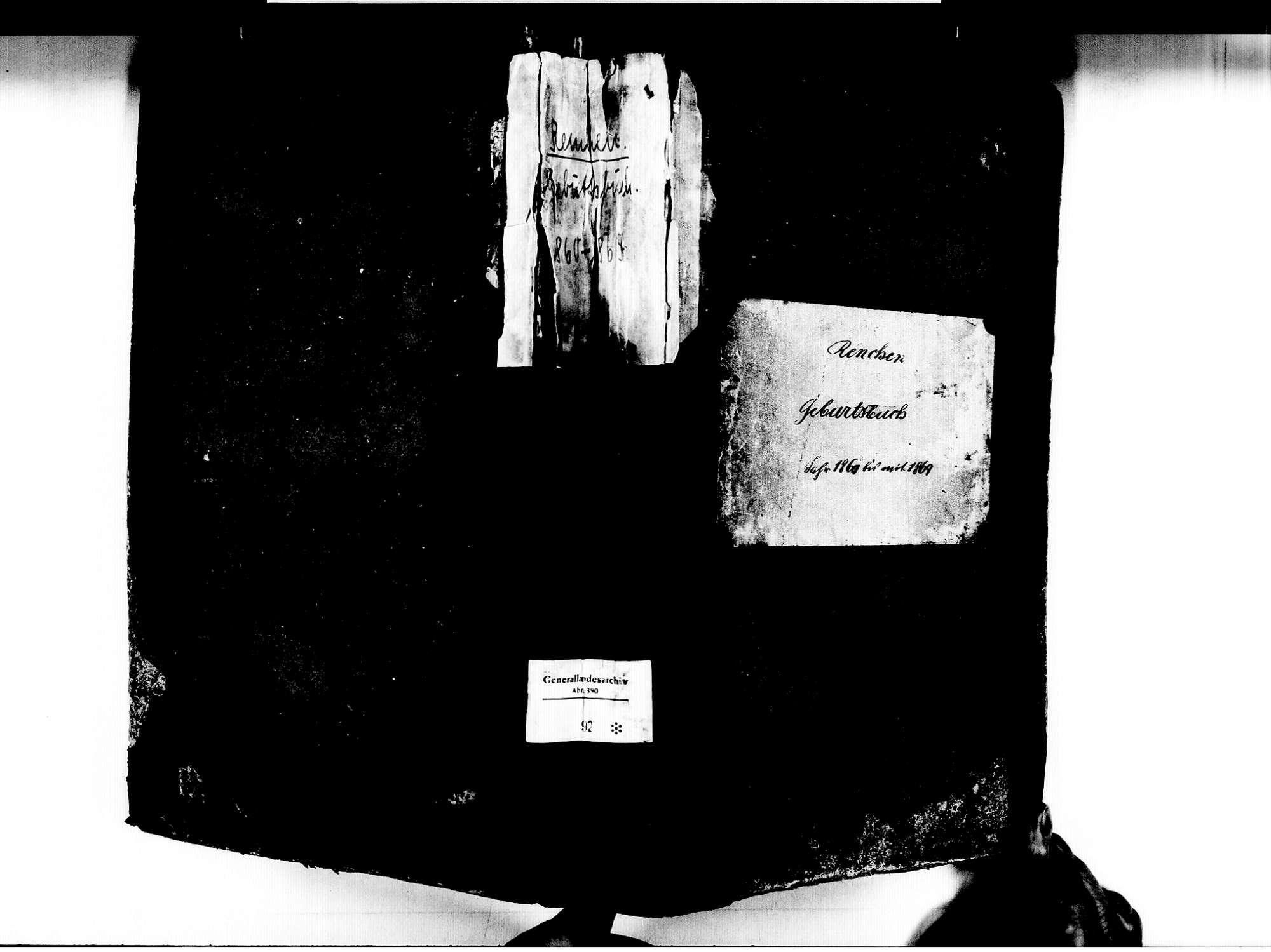 Renchen OG; Katholische Gemeinde: Geburtenbuch 1860-1869, Bild 1