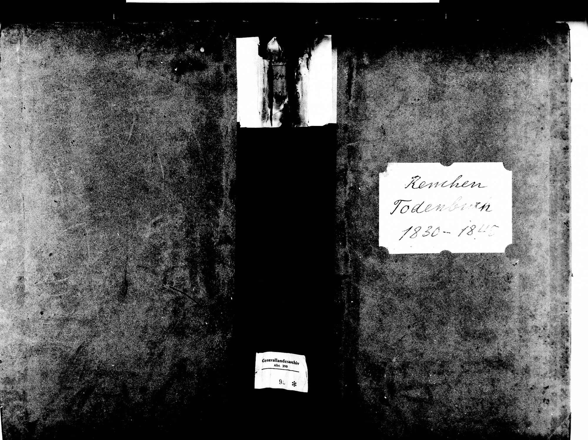 Renchen OG; Katholische Gemeinde: Sterbebuch 1830-1845, Bild 1