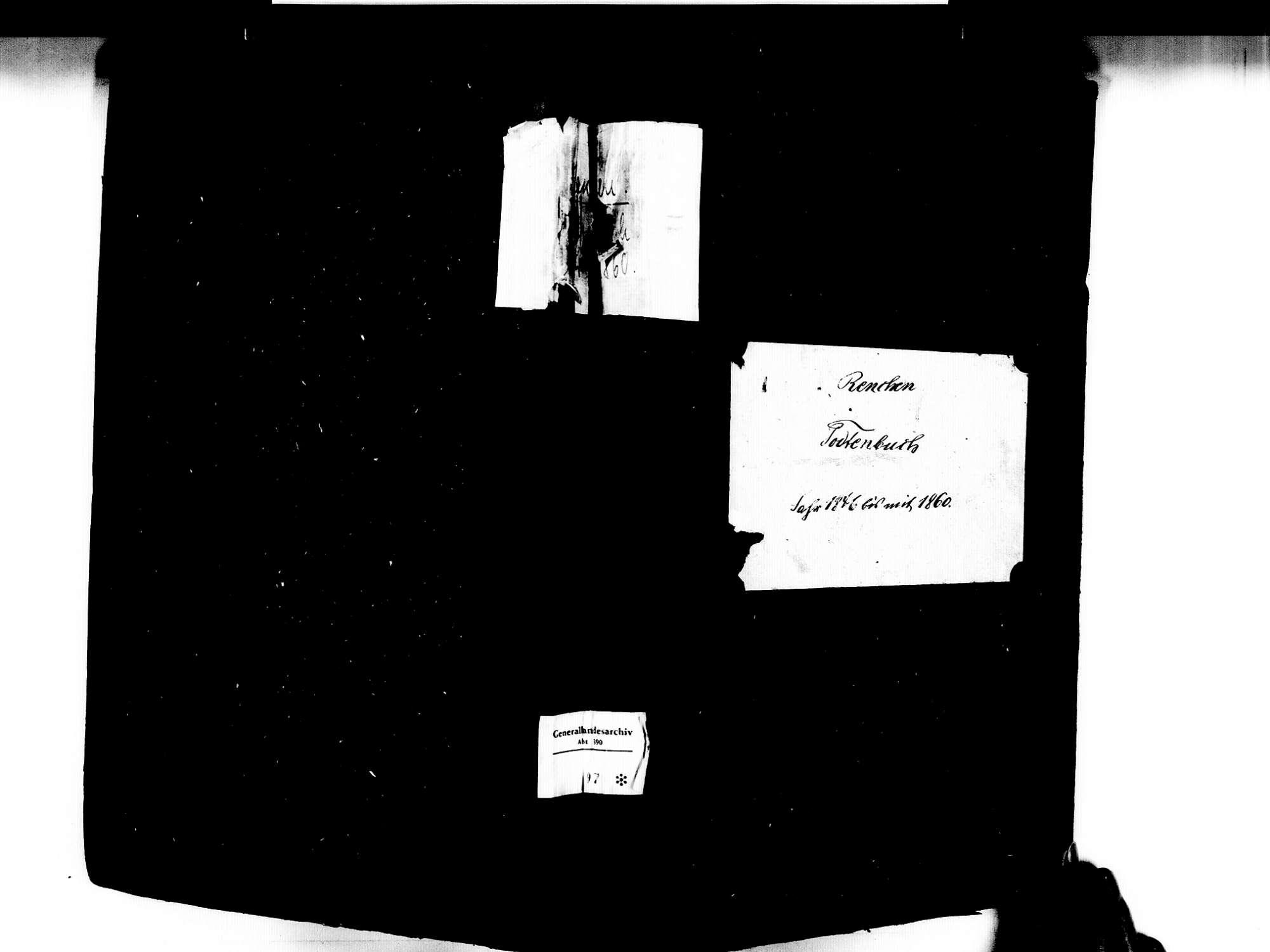 Renchen OG; Katholische Gemeinde: Sterbebuch 1846-1860, Bild 1