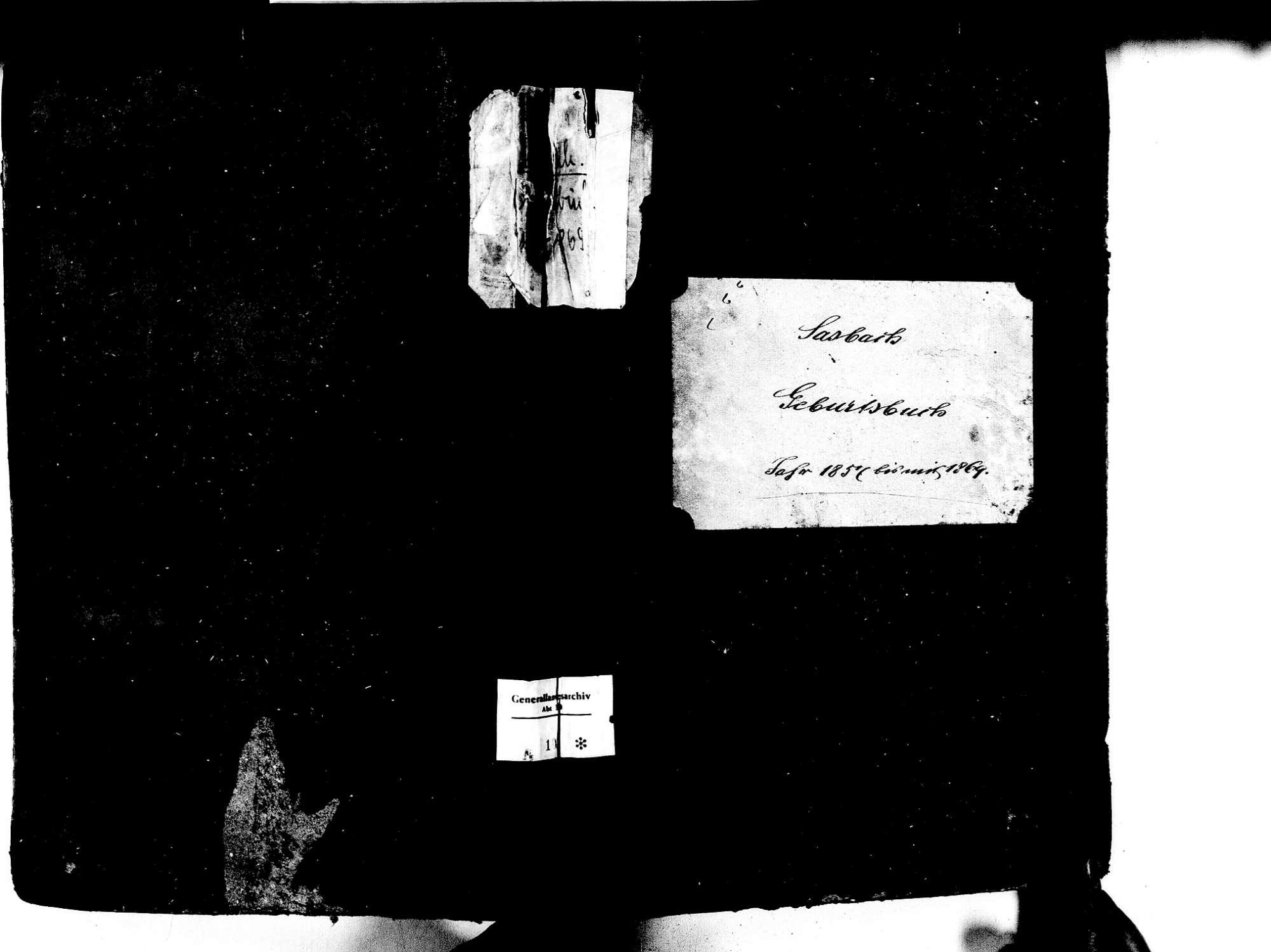 Sasbach OG; Katholische Gemeinde: Geburtenbuch 1857-1869, Bild 1