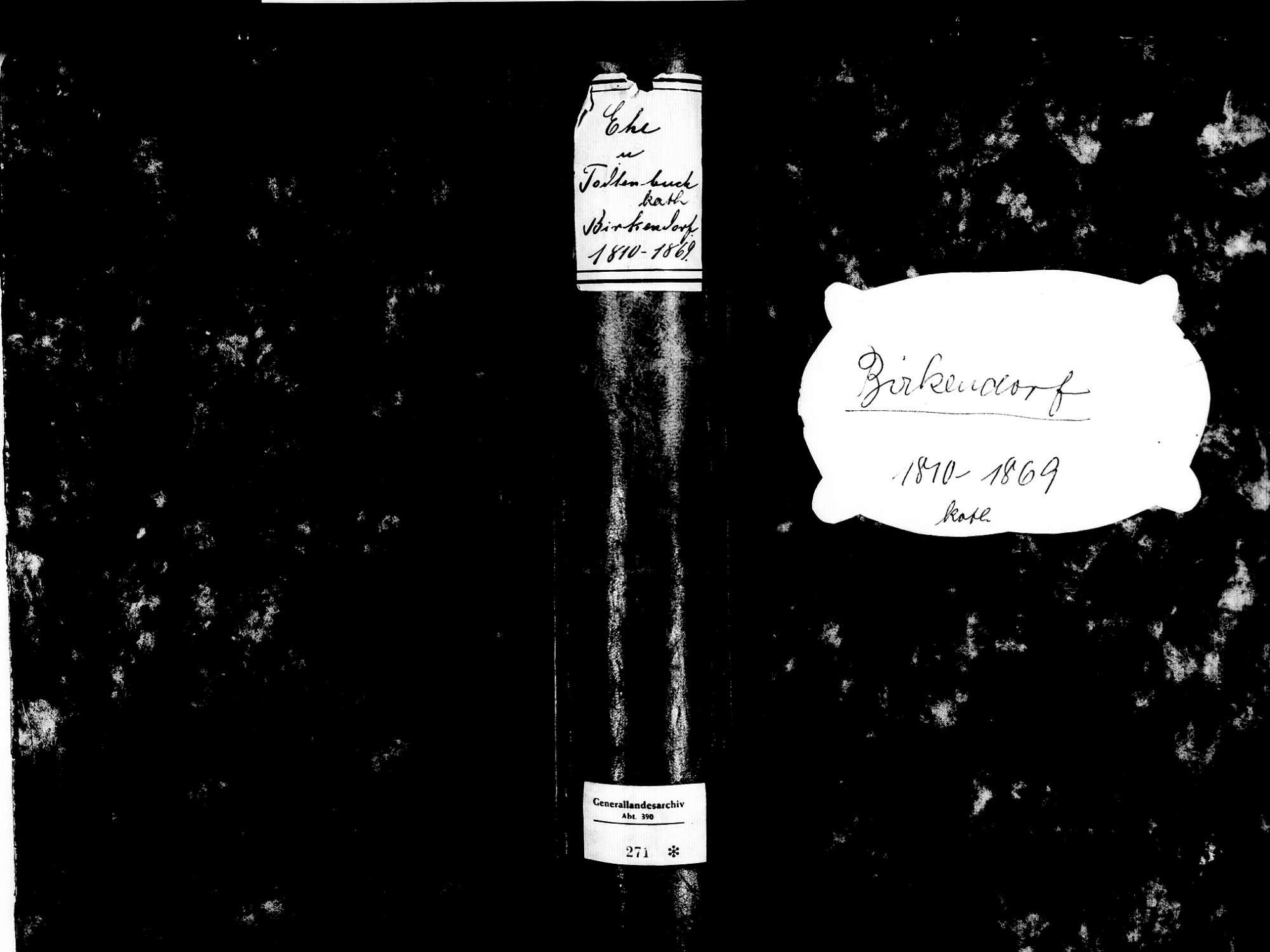 Birkendorf, Ühlingen-Birkendorf WT; Katholische Gemeinde: Heirats- und Sterbebuch 1810-1869, Bild 1