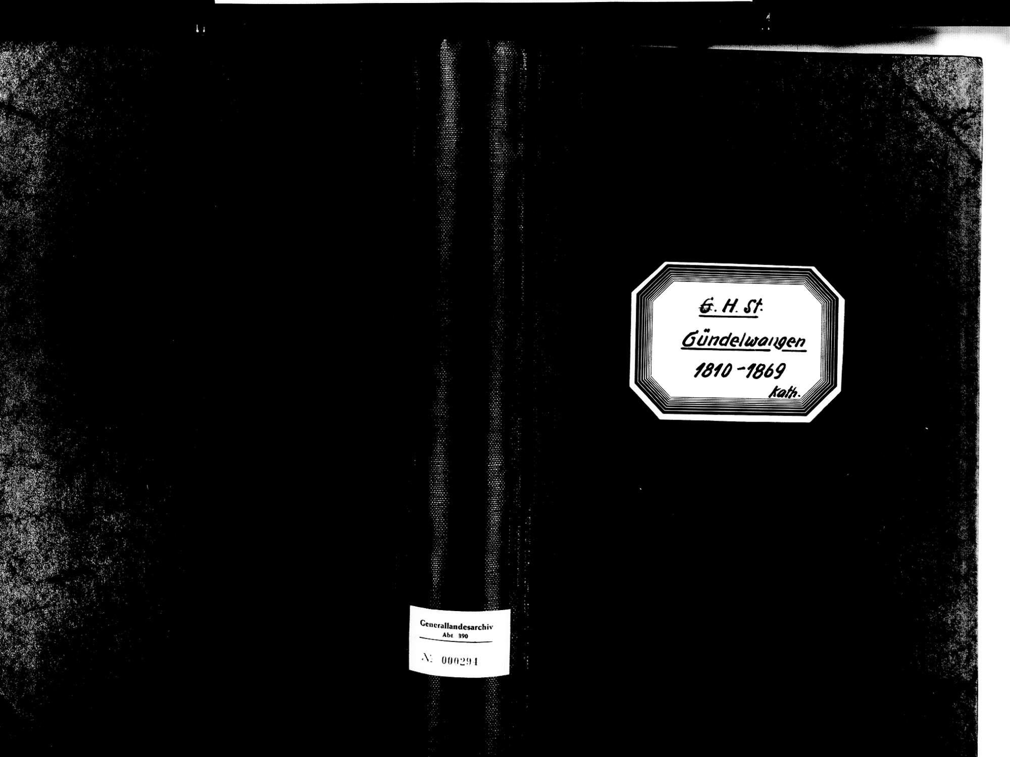 Gündelwangen, Bonndorf im Schwarzwald WT; Katholische Gemeinde: Heirats- und Sterbebuch 1810-1869, Bild 1