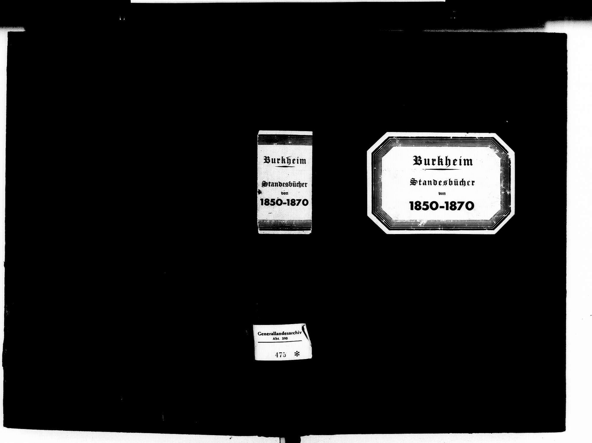 Burkheim Vogtsburg im Kaiserstuhl FR; Katholische Gemeinde: Standesbücher 1850-1870, Bild 1
