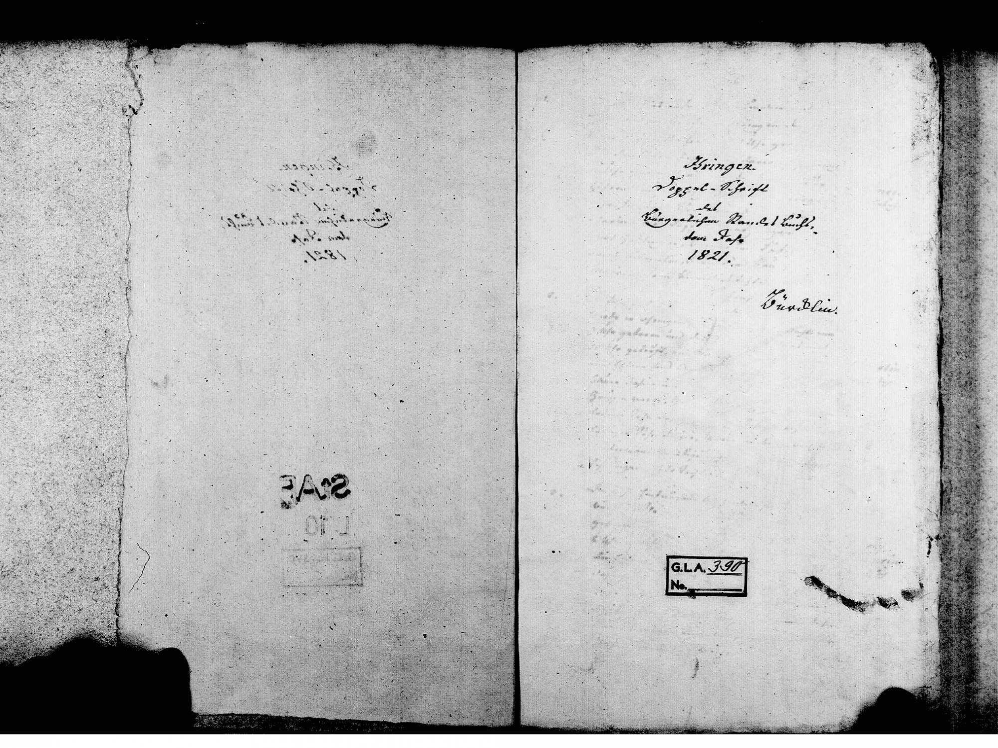 Ihringen FR; Evangelische Gemeinde: Standesbuch 1821-1828 Ihringen FR; Israelitische Gemeinde: Standesbuch 1821-1828, Bild 3