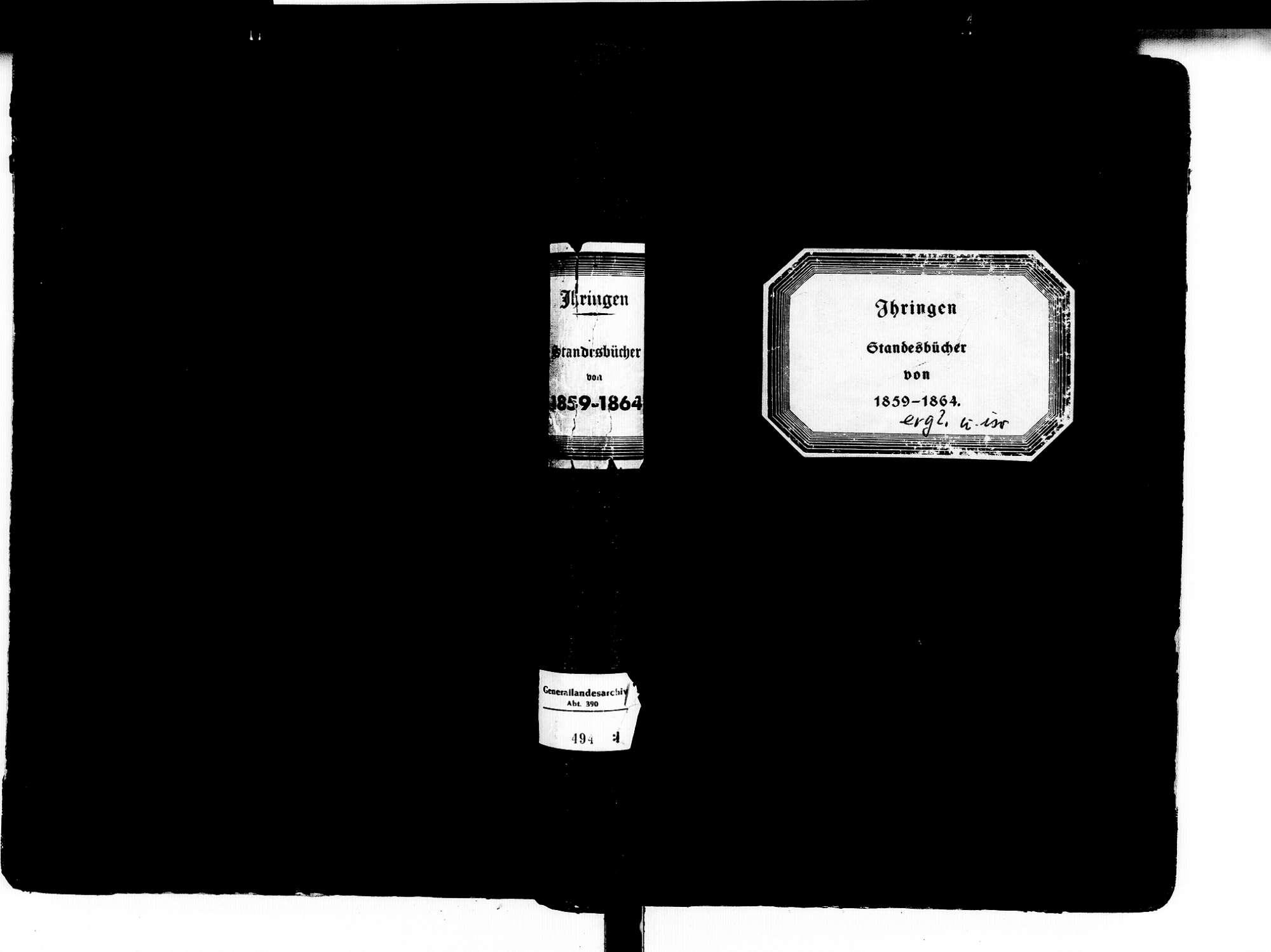 Ihringen FR; Evangelische Gemeinde: Standesbuch 1859-1864 Ihringen FR; Israelitische Gemeinde: Standesbuch 1859-1864, Bild 1