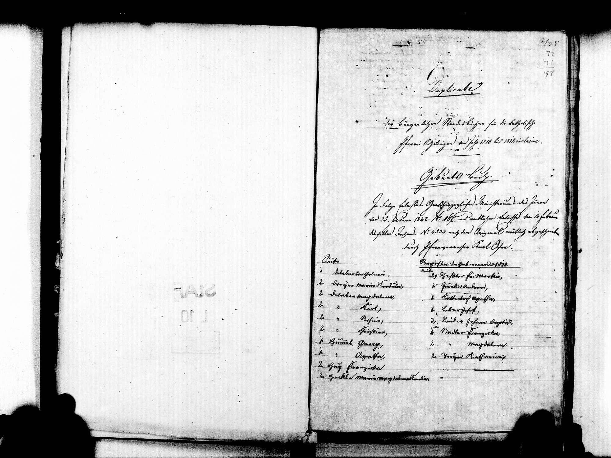 Schelingen, Vogtsburg im Kaiserstuhl FR; Katholische Gemeinde: Standesbuch 1810-1839, Bild 3