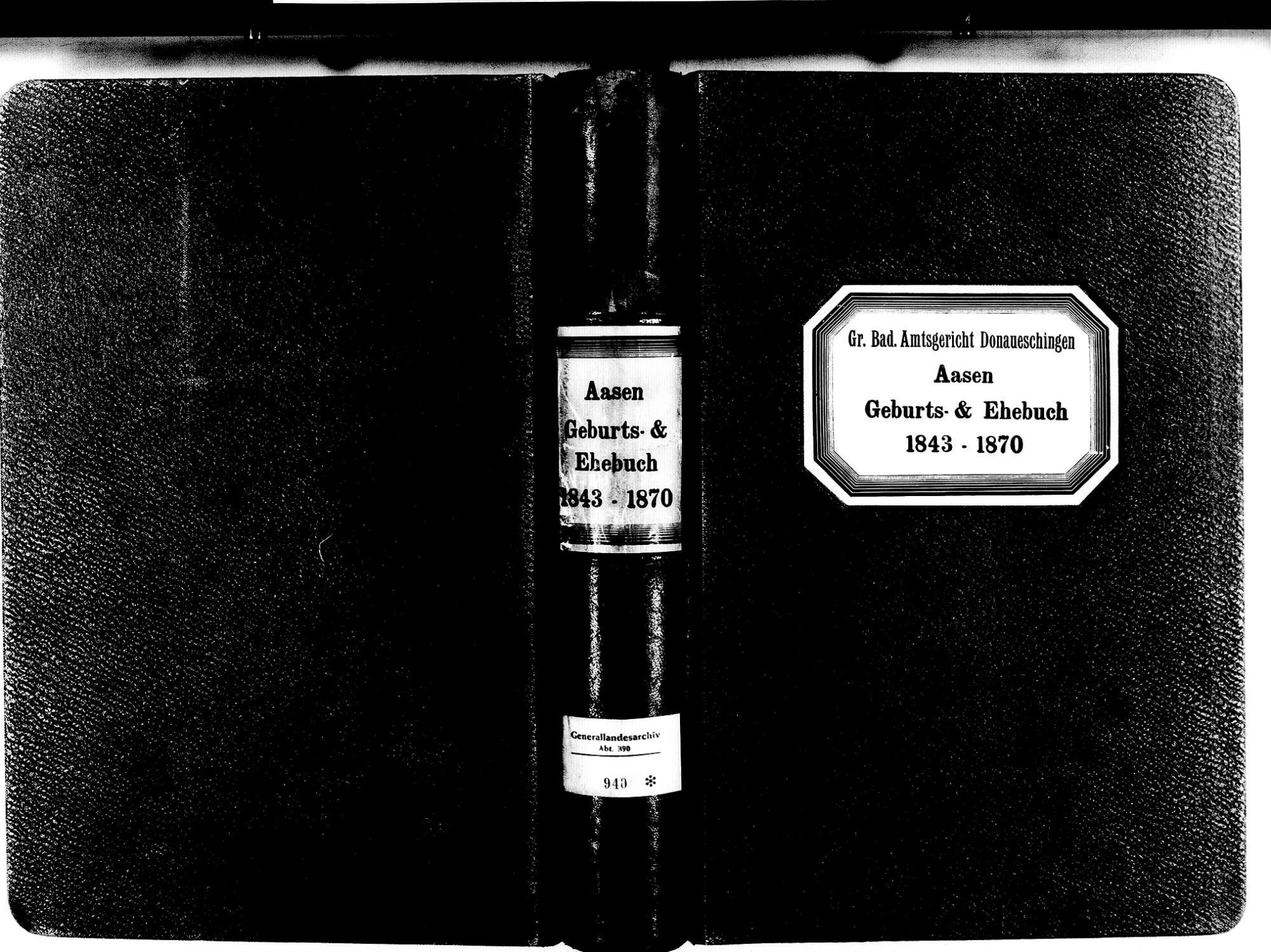 Aasen, Donaueschingen VS; Katholische Gemeinde: Geburten- und Heiratsbuch 1843-1870, Bild 1