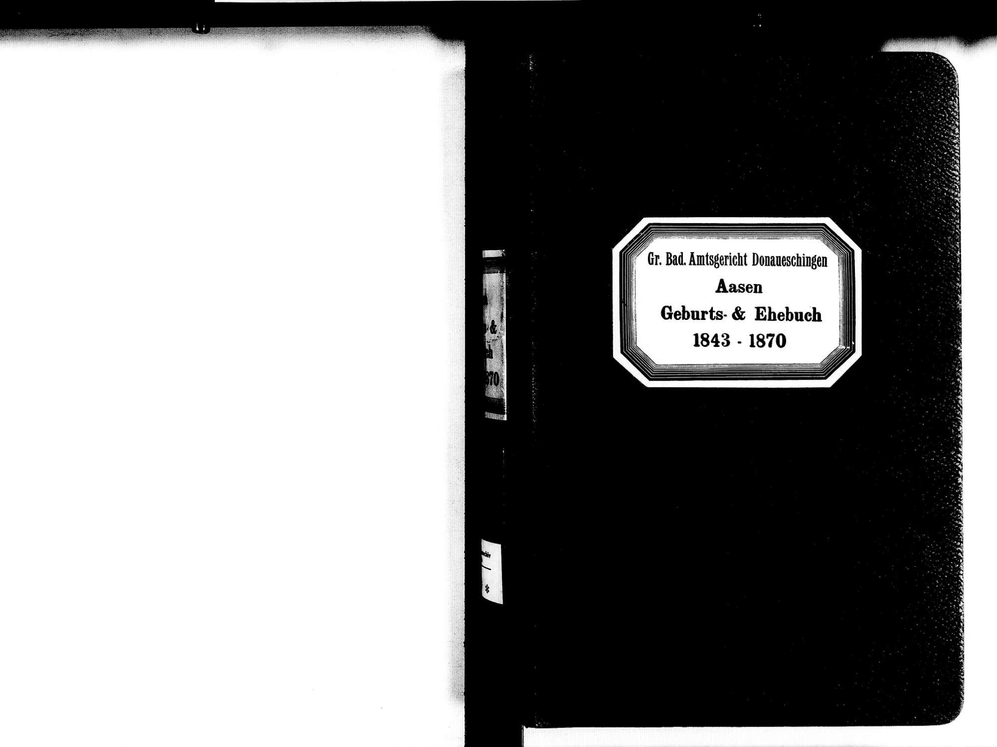 Aasen, Donaueschingen VS; Katholische Gemeinde: Geburten- und Heiratsbuch 1843-1870, Bild 2