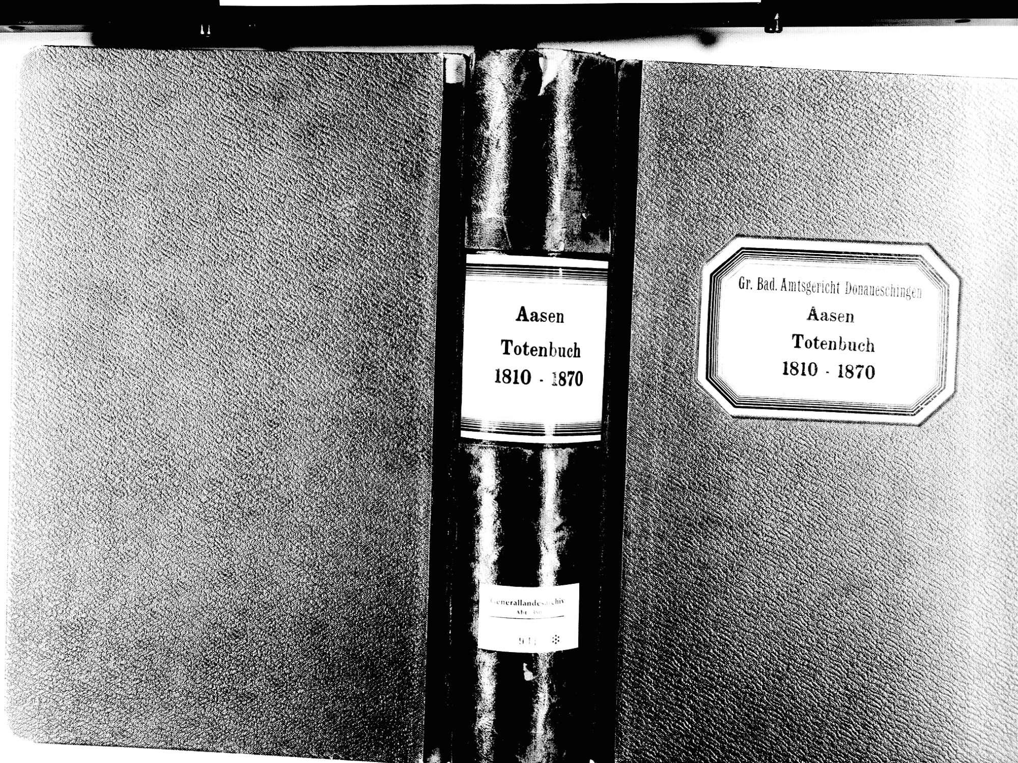 Aasen, Donaueschingen VS; Katholische Gemeinde: Sterbebuch 1810-1870, Bild 1