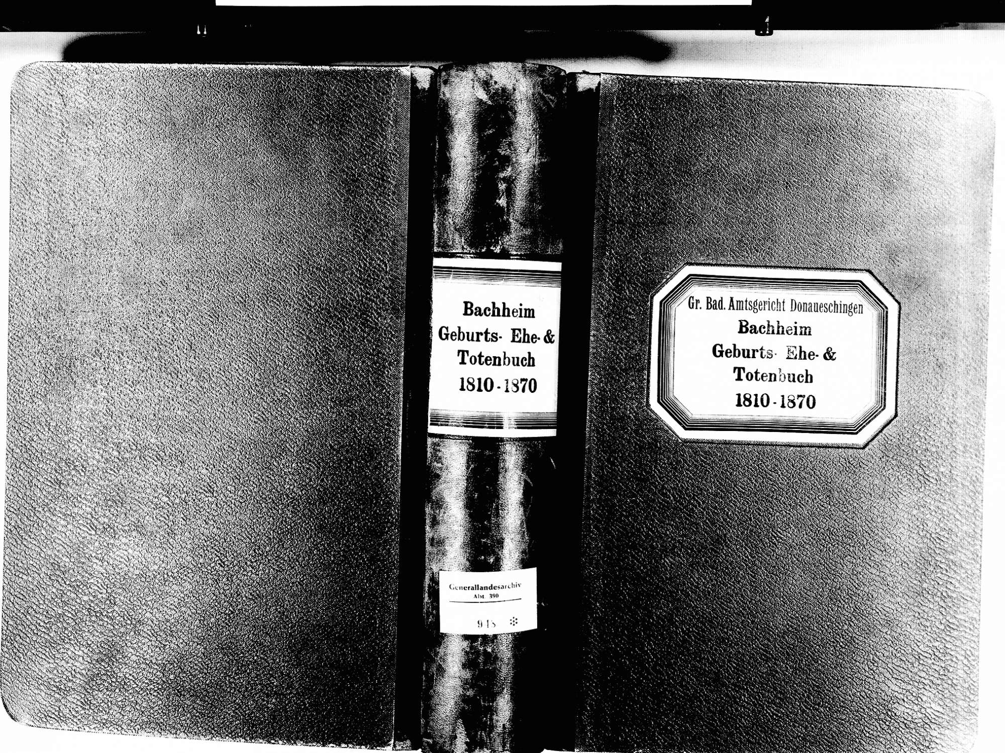 Bachheim, Löffingen FR; Katholische Gemeinde: Standesbuch 1810-1870, Bild 1