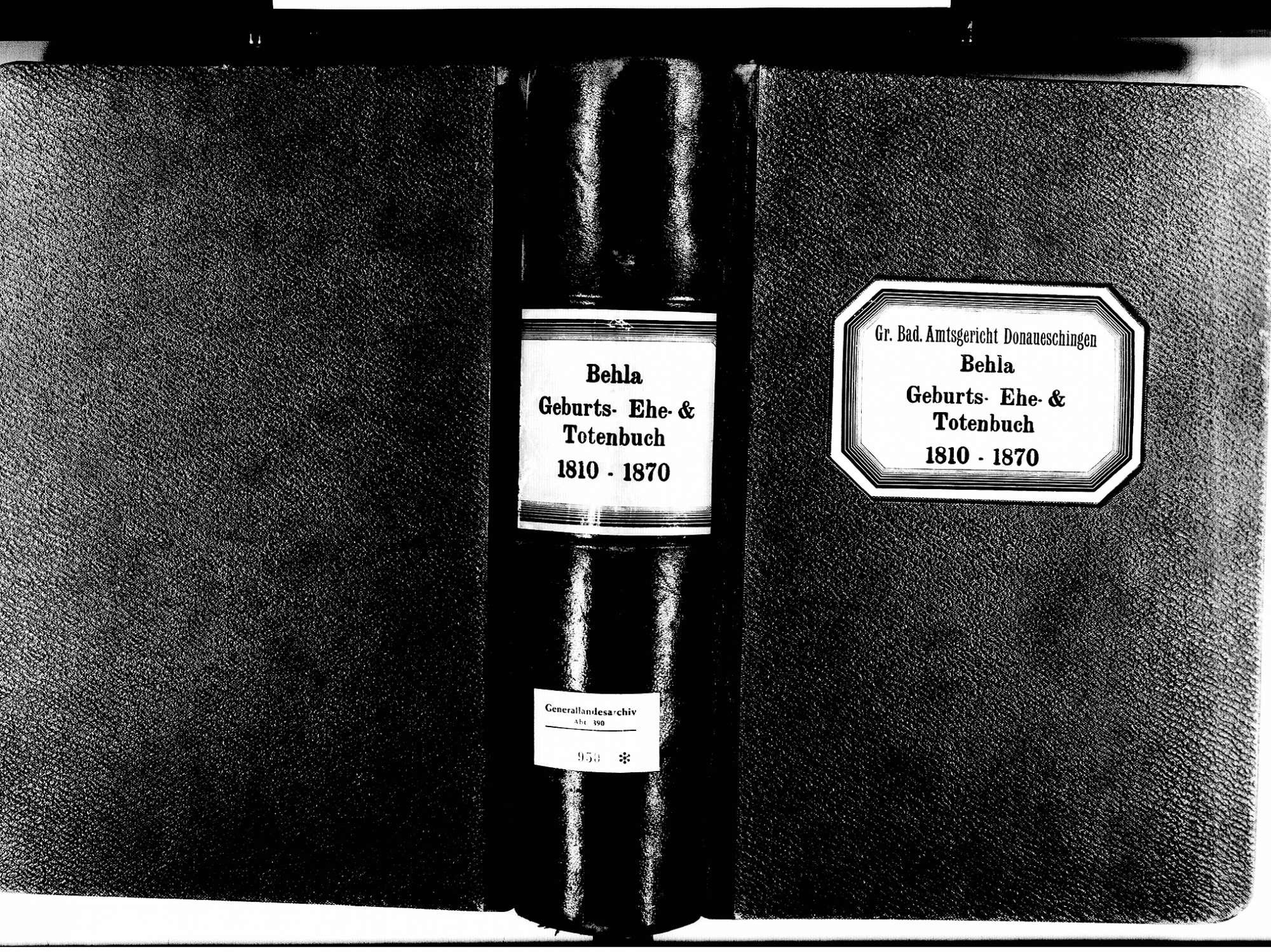 Behla, Hüfingen VS; Katholische Gemeinde: Standesbuch 1810-1870, Bild 1