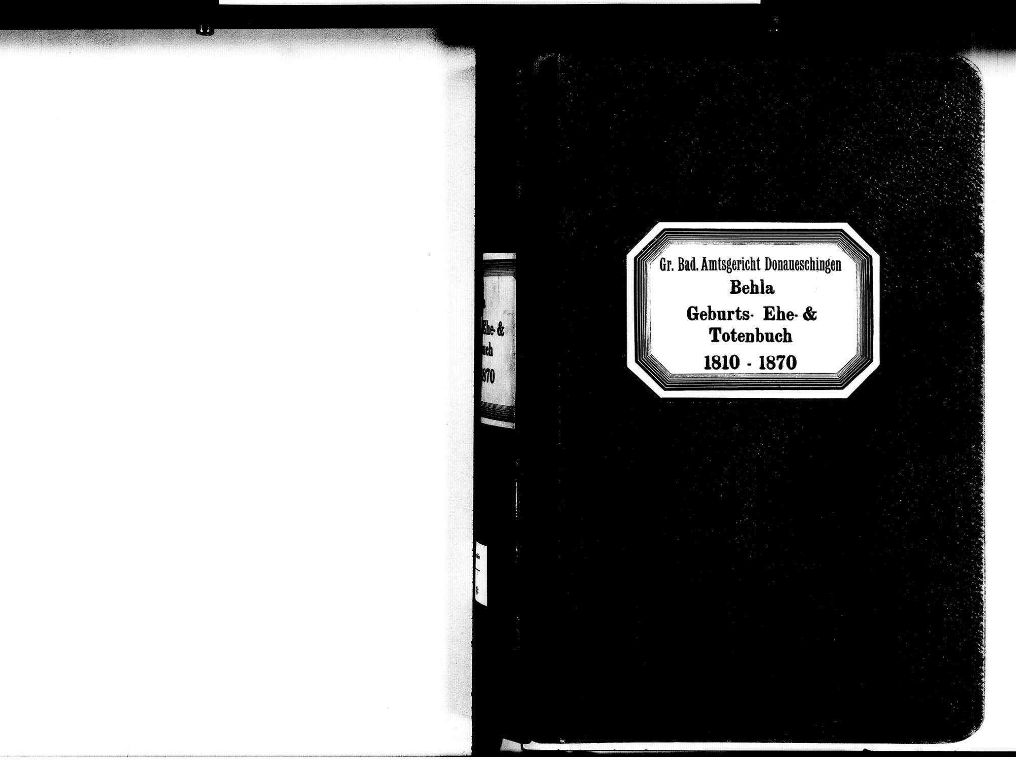 Behla, Hüfingen VS; Katholische Gemeinde: Standesbuch 1810-1870, Bild 2