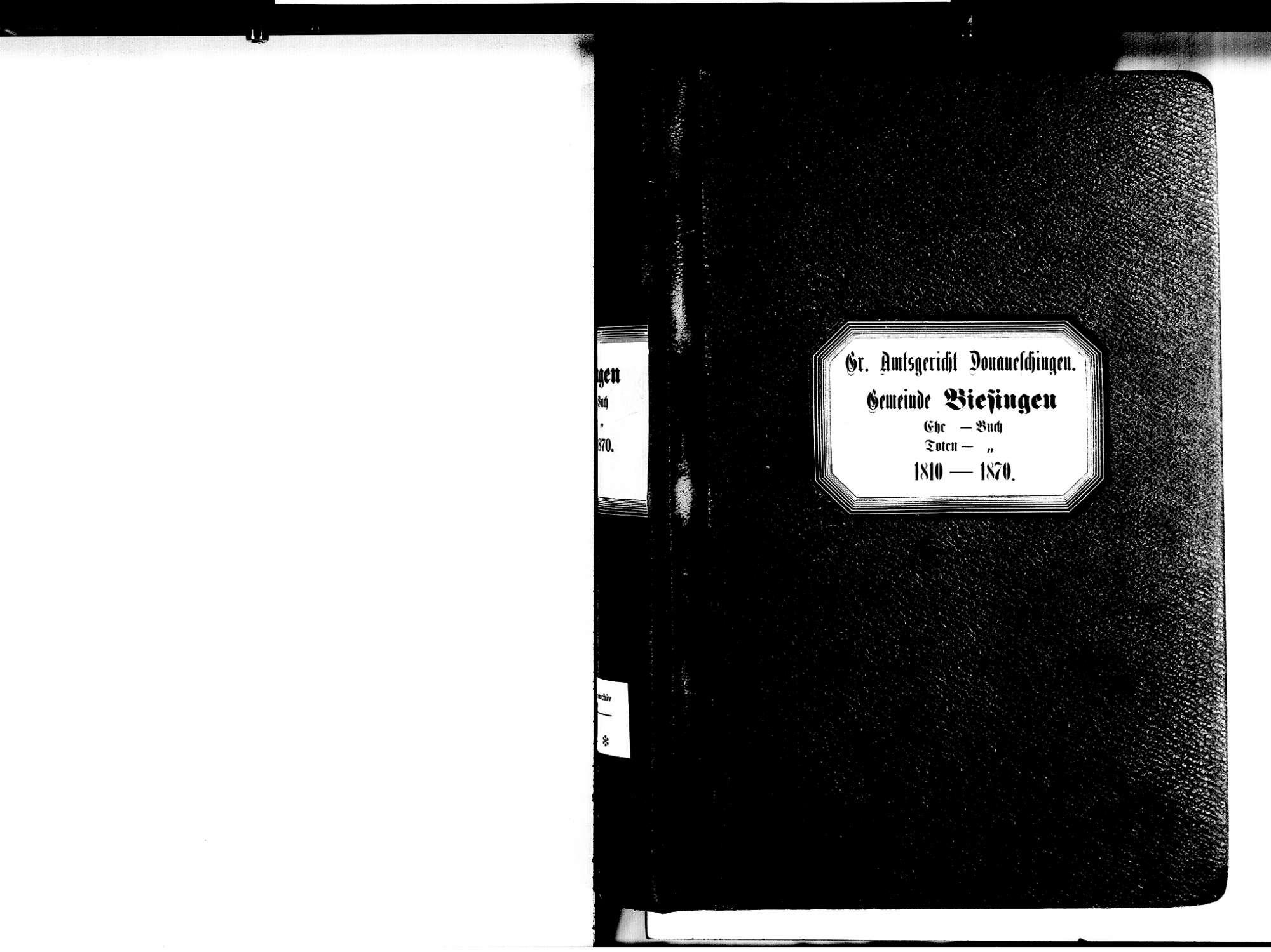 Biesingen, Bad Dürrheim VS; Evangelische Gemeinde: Heirats- und Sterbebuch 1810-1870, Bild 2