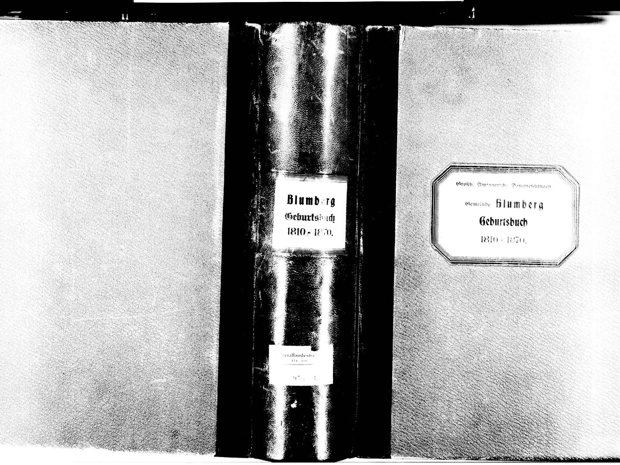 Blumberg VS; Katholische Gemeinde: Geburtenbuch 1810-1870, Bild 1