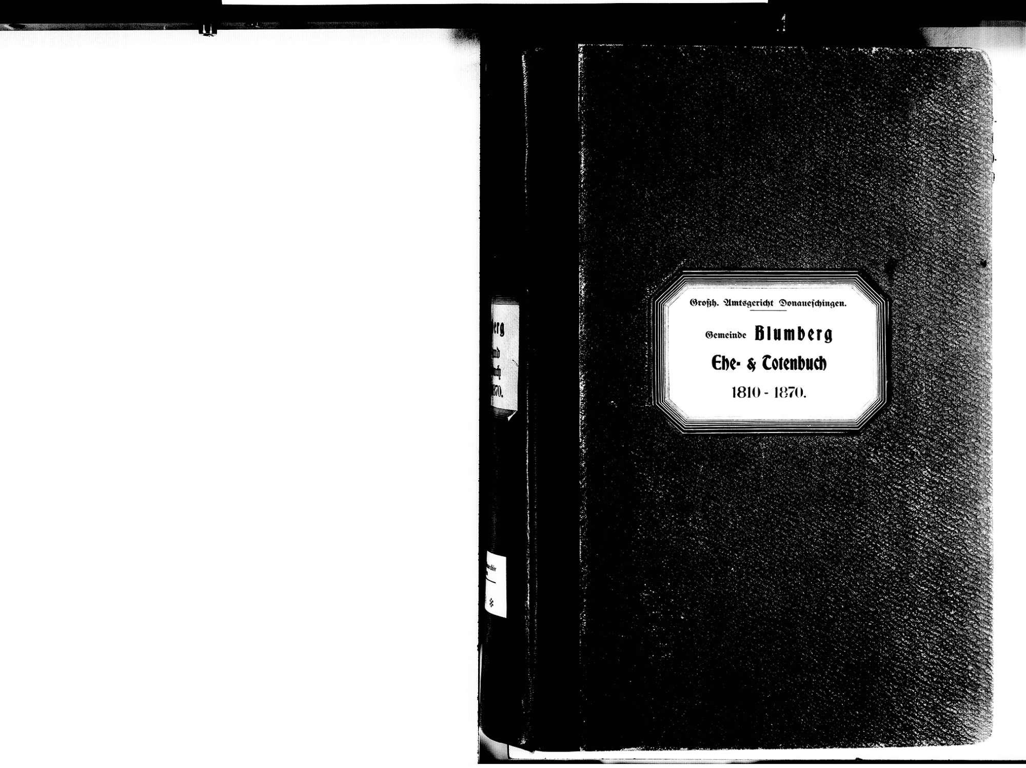 Blumberg VS; Katholische Gemeinde: Heirats- und Sterbebuch 1810-1870, Bild 2