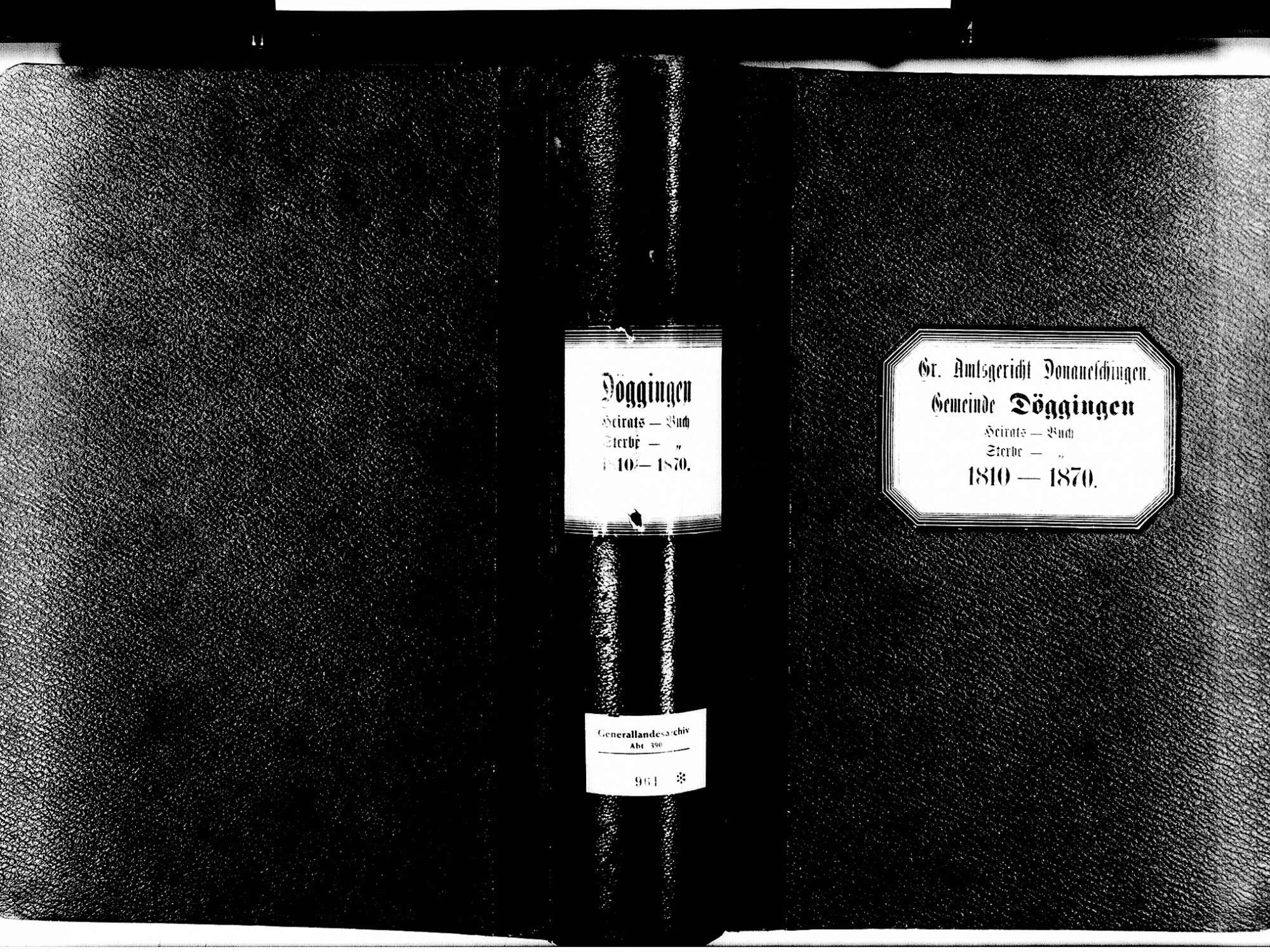 Döggingen, Bräunlingen VS; Katholische Gemeinde: Heirats- und Sterbebuch 1810-1870, Bild 2