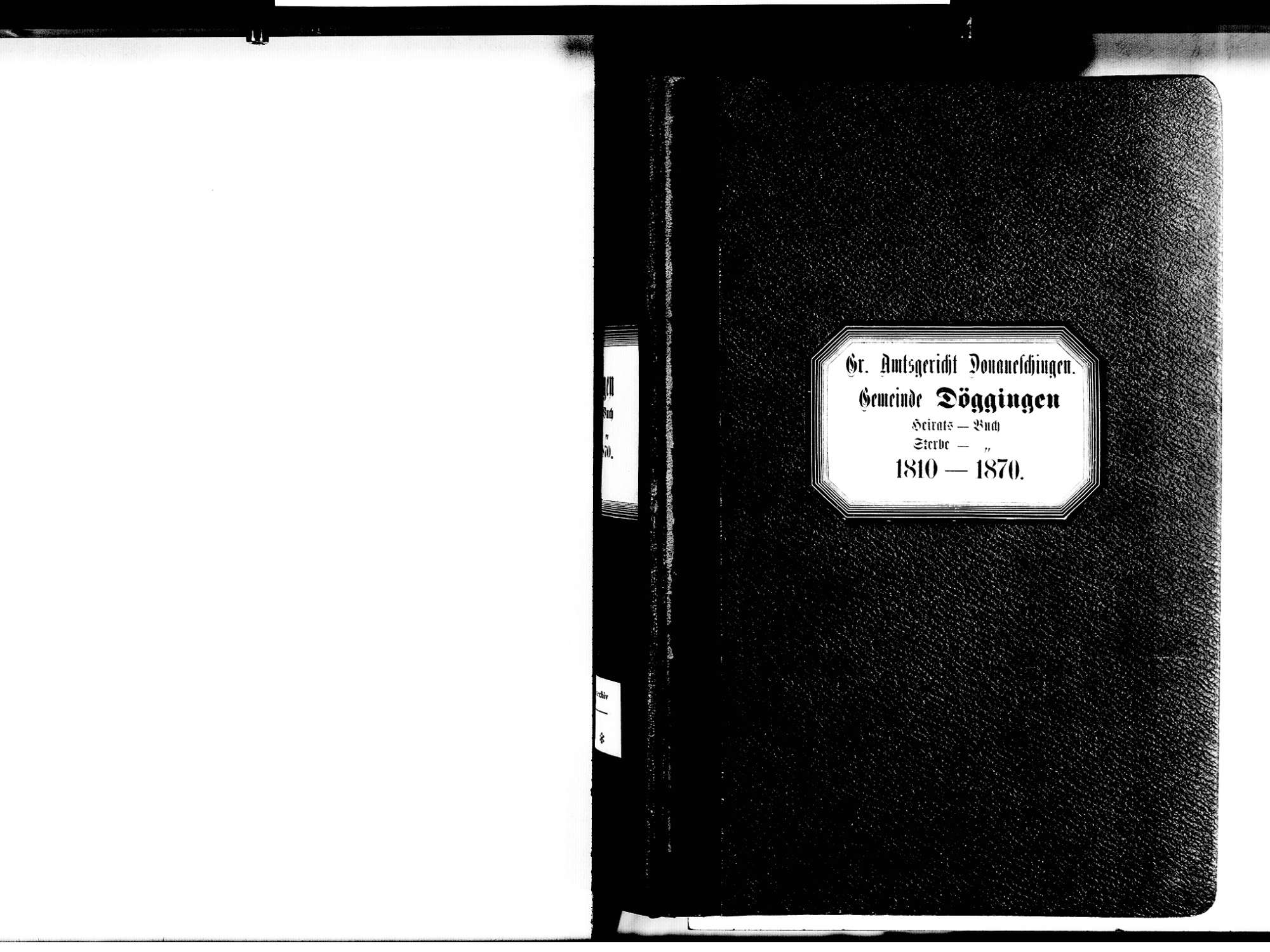 Döggingen, Bräunlingen VS; Katholische Gemeinde: Heirats- und Sterbebuch 1810-1870, Bild 3