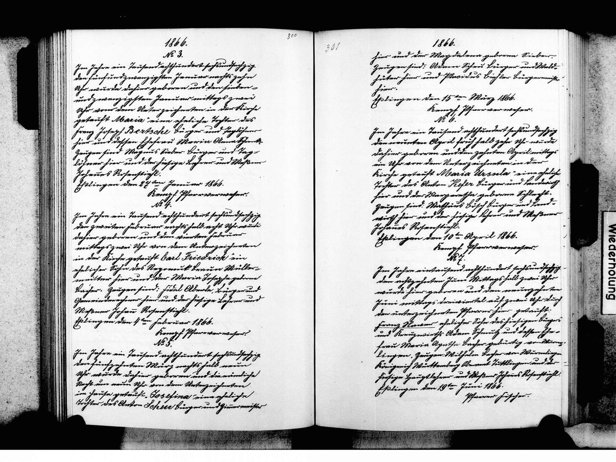 Eßlingen, Tuttlingen TUT; Katholische Gemeinde: Standesbuch 1810-1870, Bild 3
