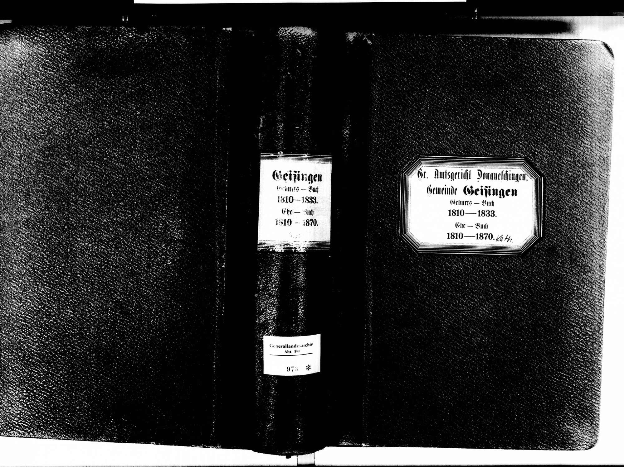 Geisingen TUT; Katholische Gemeinde: Geburtenbuch 1810-1833 Geisingen TUT; Katholische Gemeinde: Heiratsbuch 1810-1870, Bild 2
