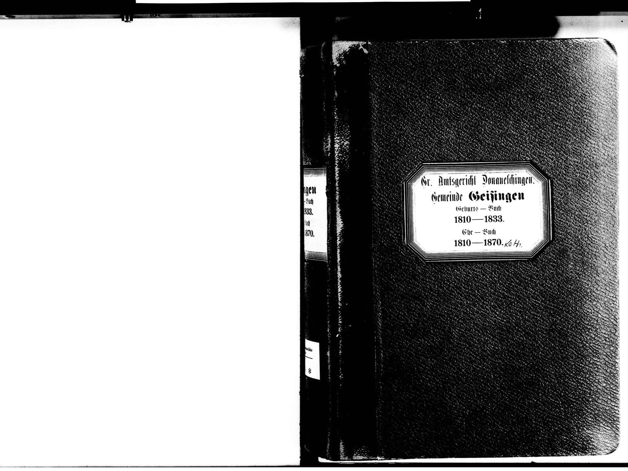 Geisingen TUT; Katholische Gemeinde: Geburtenbuch 1810-1833 Geisingen TUT; Katholische Gemeinde: Heiratsbuch 1810-1870, Bild 3