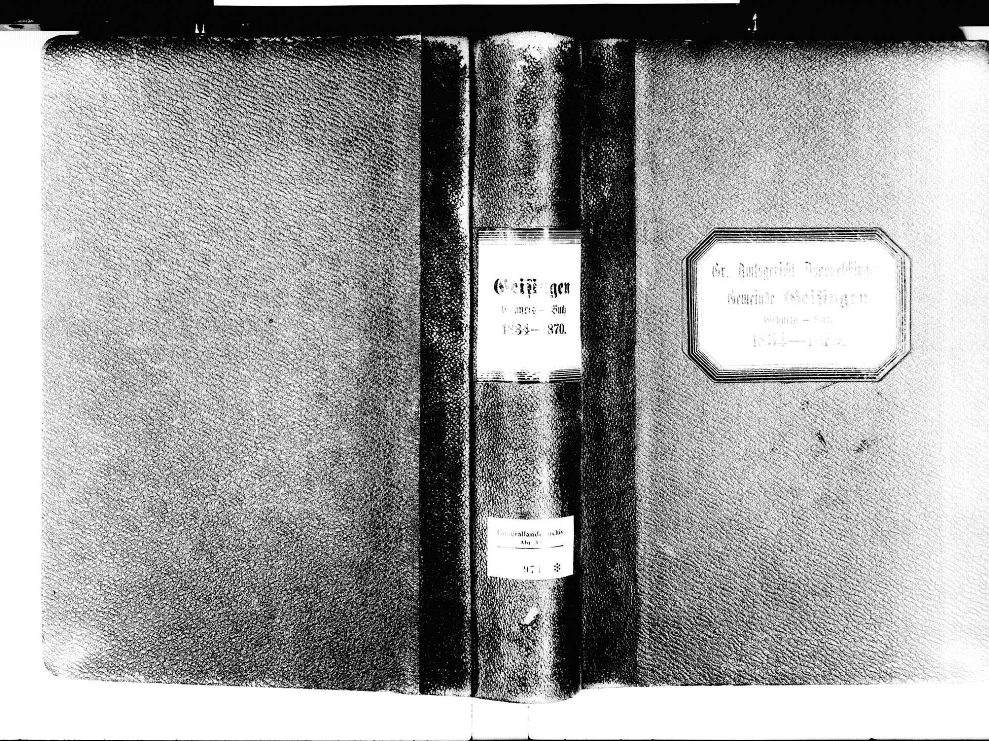 Geisingen TUT; Katholische Gemeinde: Geburtenbuch 1834-1870, Bild 2