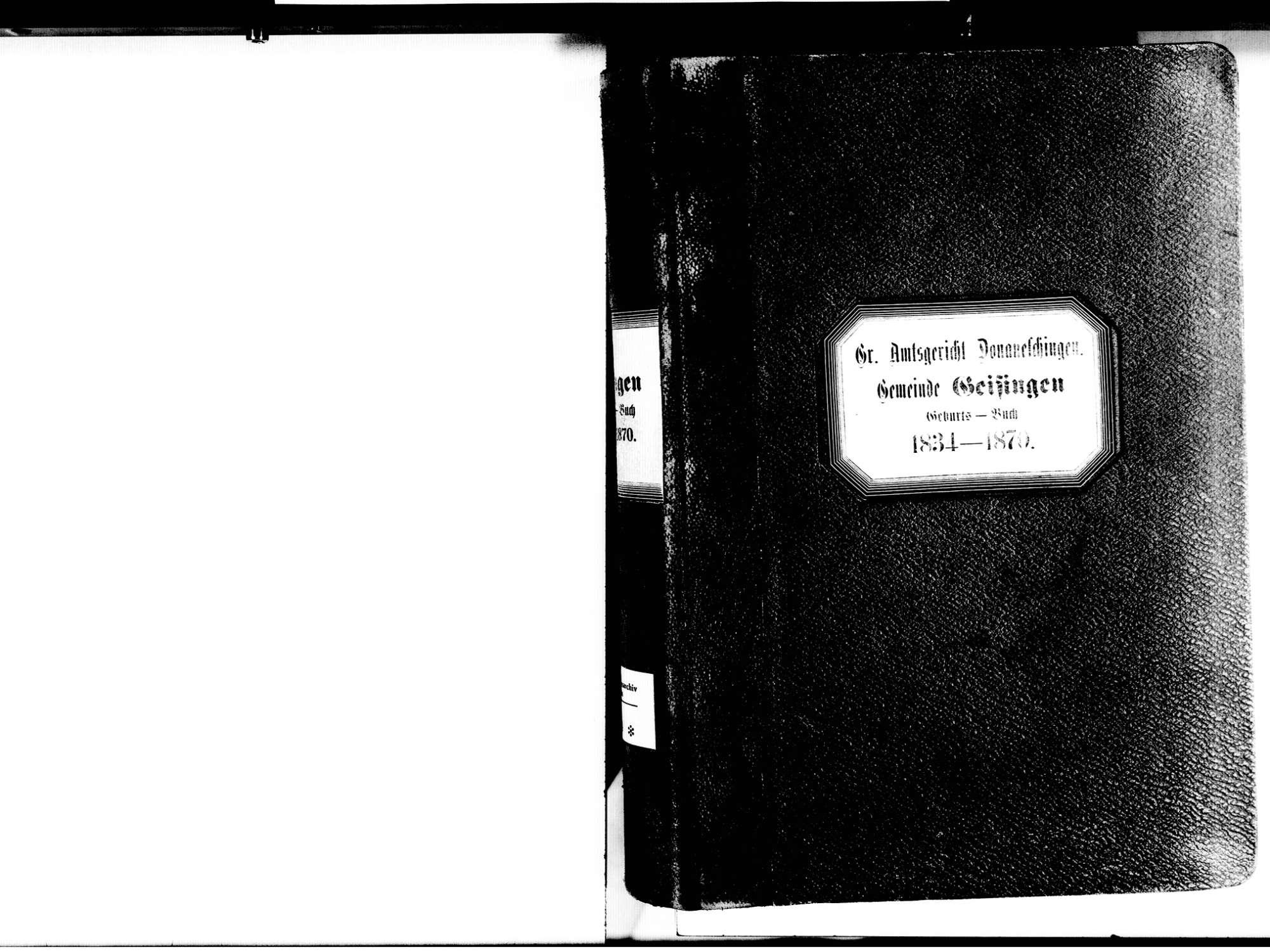 Geisingen TUT; Katholische Gemeinde: Geburtenbuch 1834-1870, Bild 3
