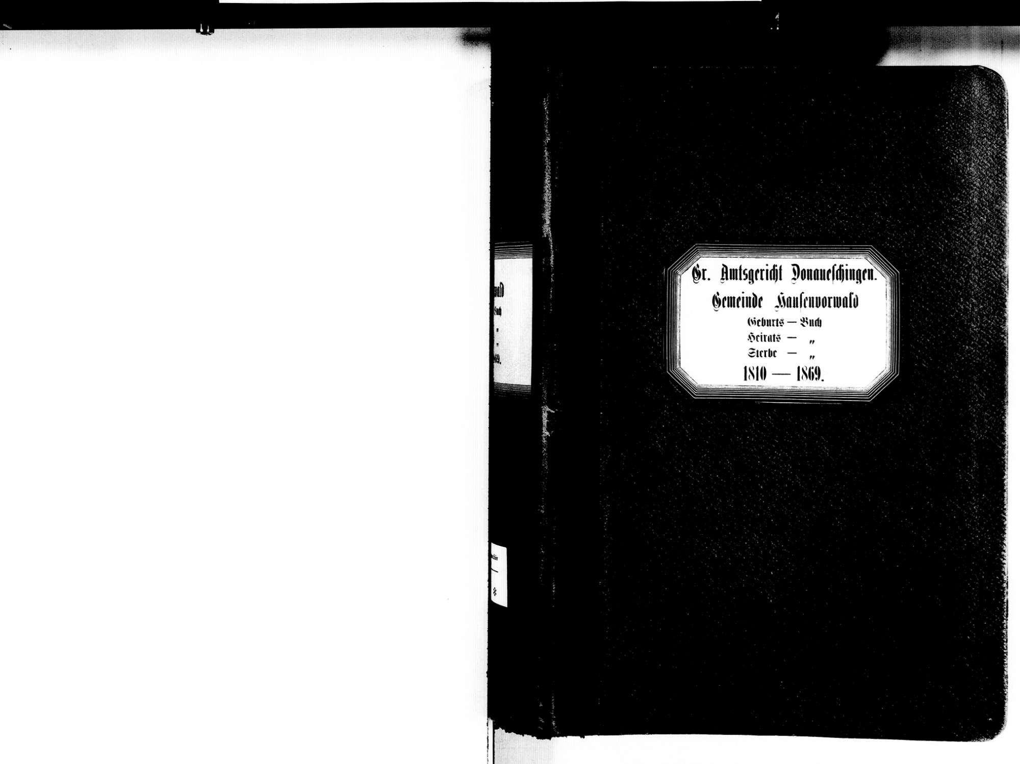 Hausen vor Wald, Hüfingen VS; Katholische Gemeinde: Standesbuch 1810-1869, Bild 3