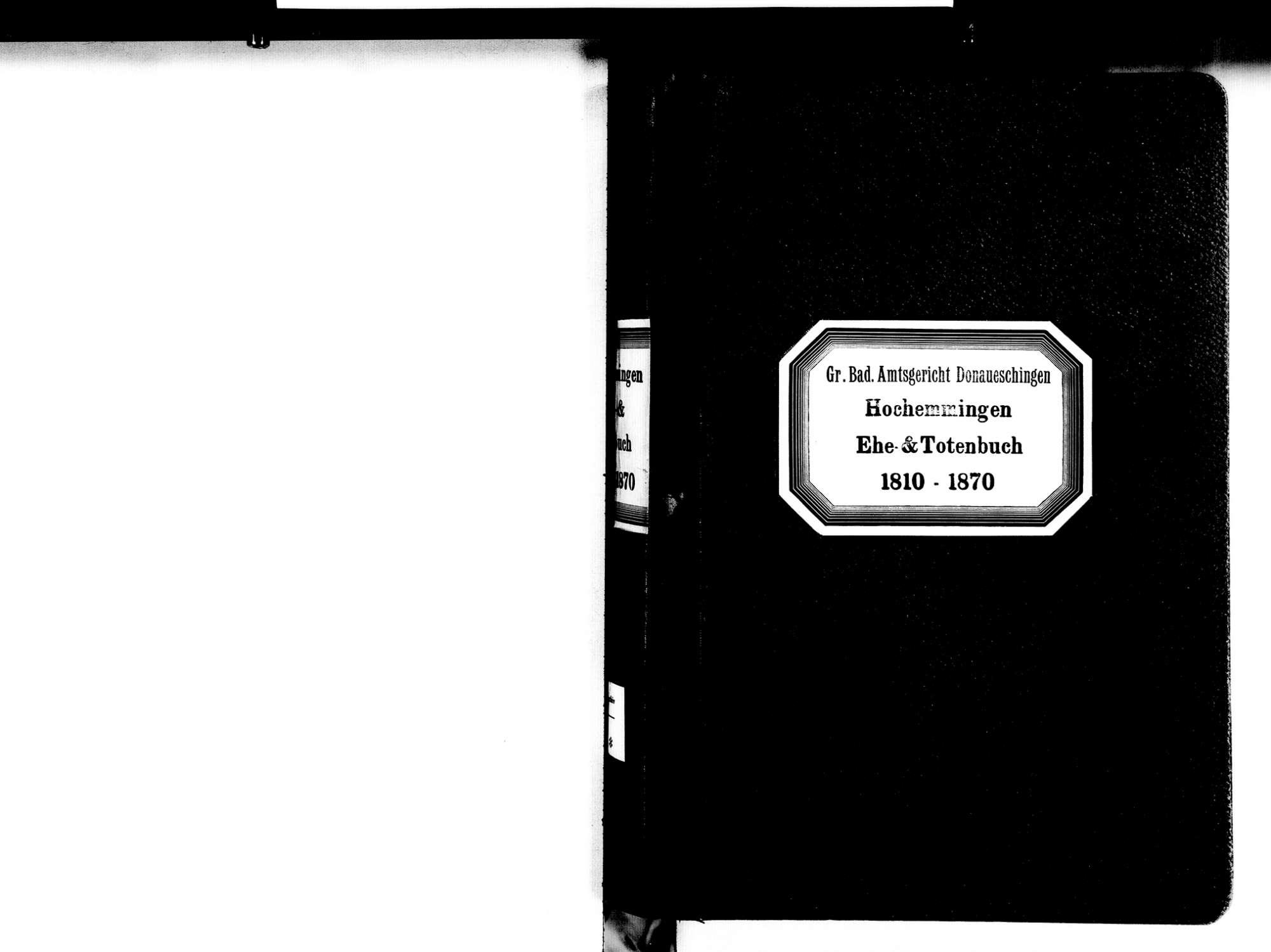 Hochemmingen, Bad Dürrheim VS; Katholische Gemeinde: Heirats- und Sterbebuch 1810-1870, Bild 3