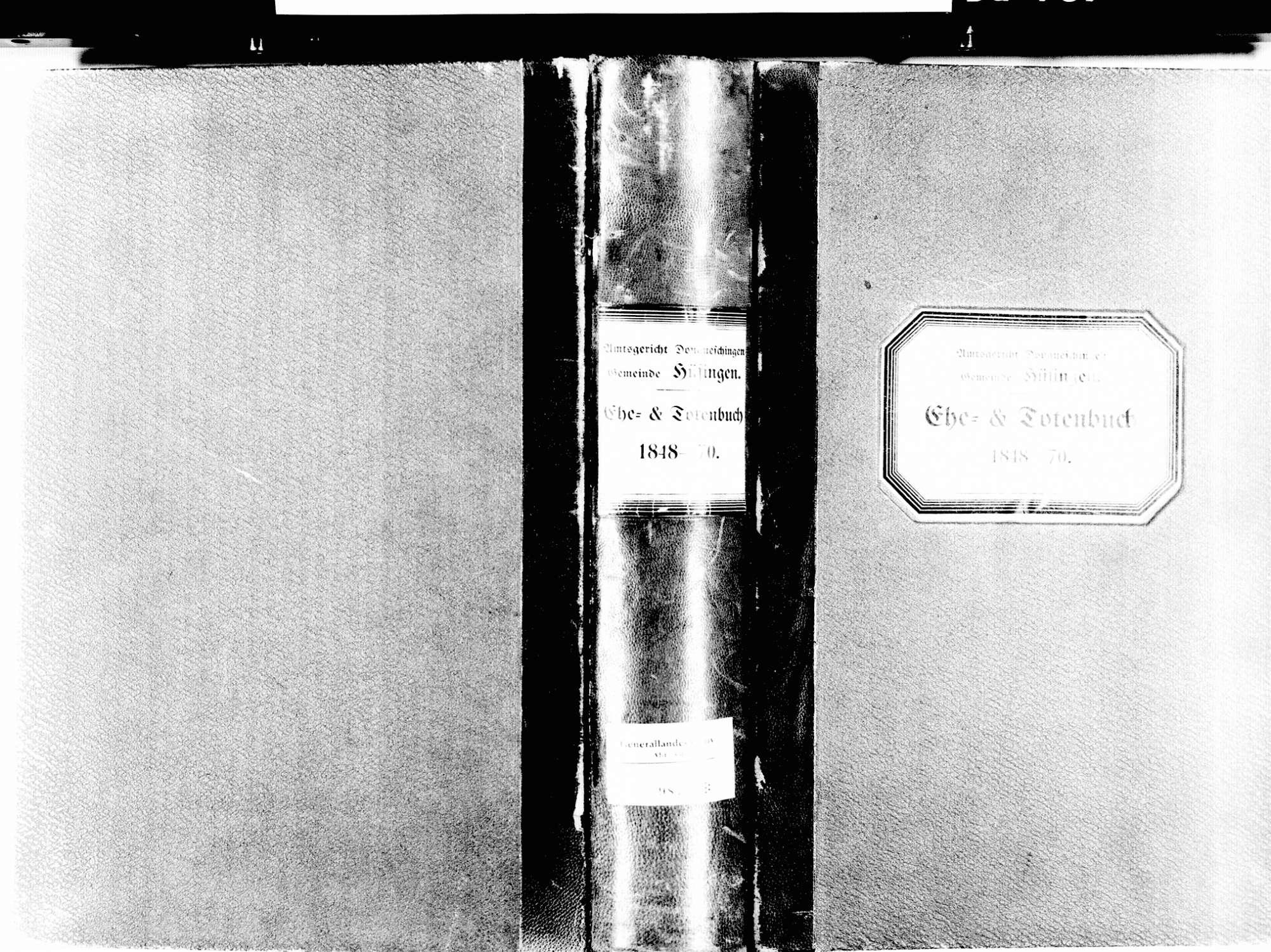 Hüfingen VS; Katholische Gemeinde: Heirats- und Sterbebuch 1848-1870, Bild 2