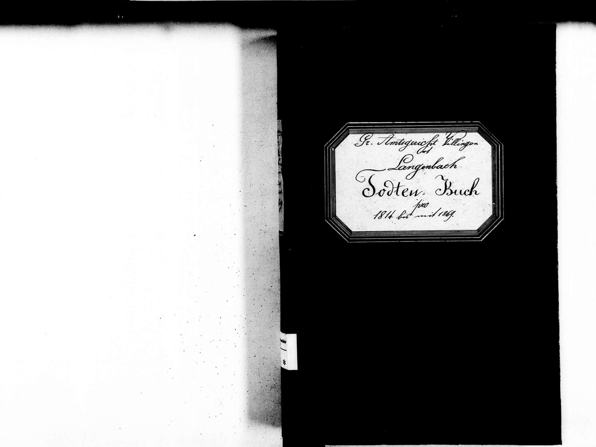 Langenbach, Vöhrenbach VS; Katholische Gemeinde: Sterbebuch 1814-1869, Bild 3