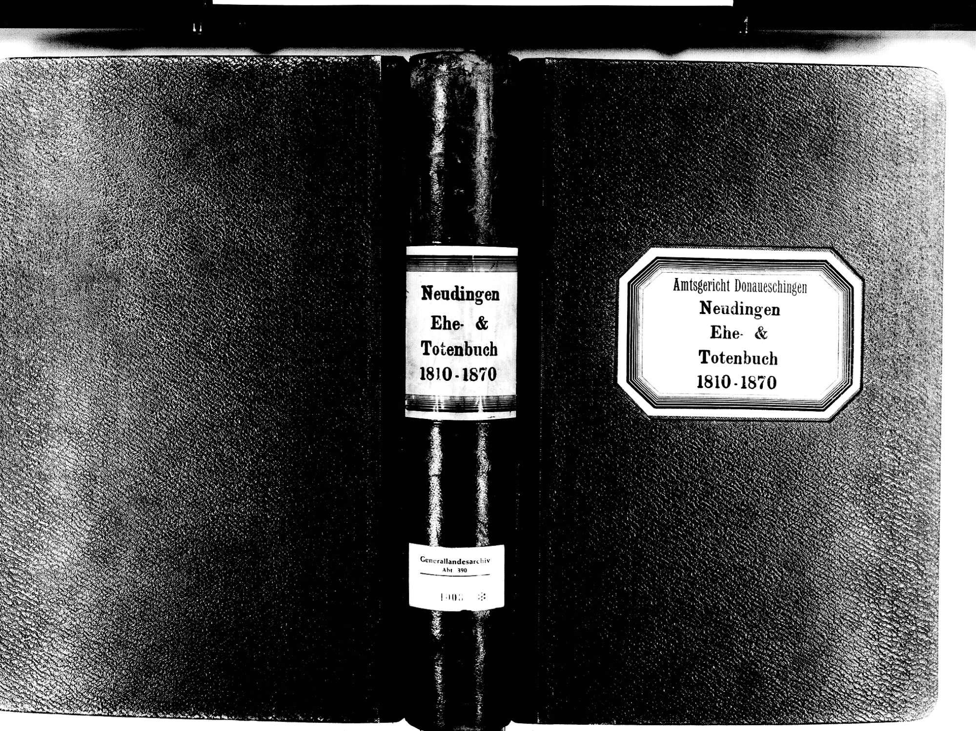 Neudingen, Donaueschingen VS; Katholische Gemeinde: Heiratsbuch 1810-1870 Neudingen, Donaueschingen VS; Katholische Gemeinde: Sterbebuch 1810-1870, Bild 1