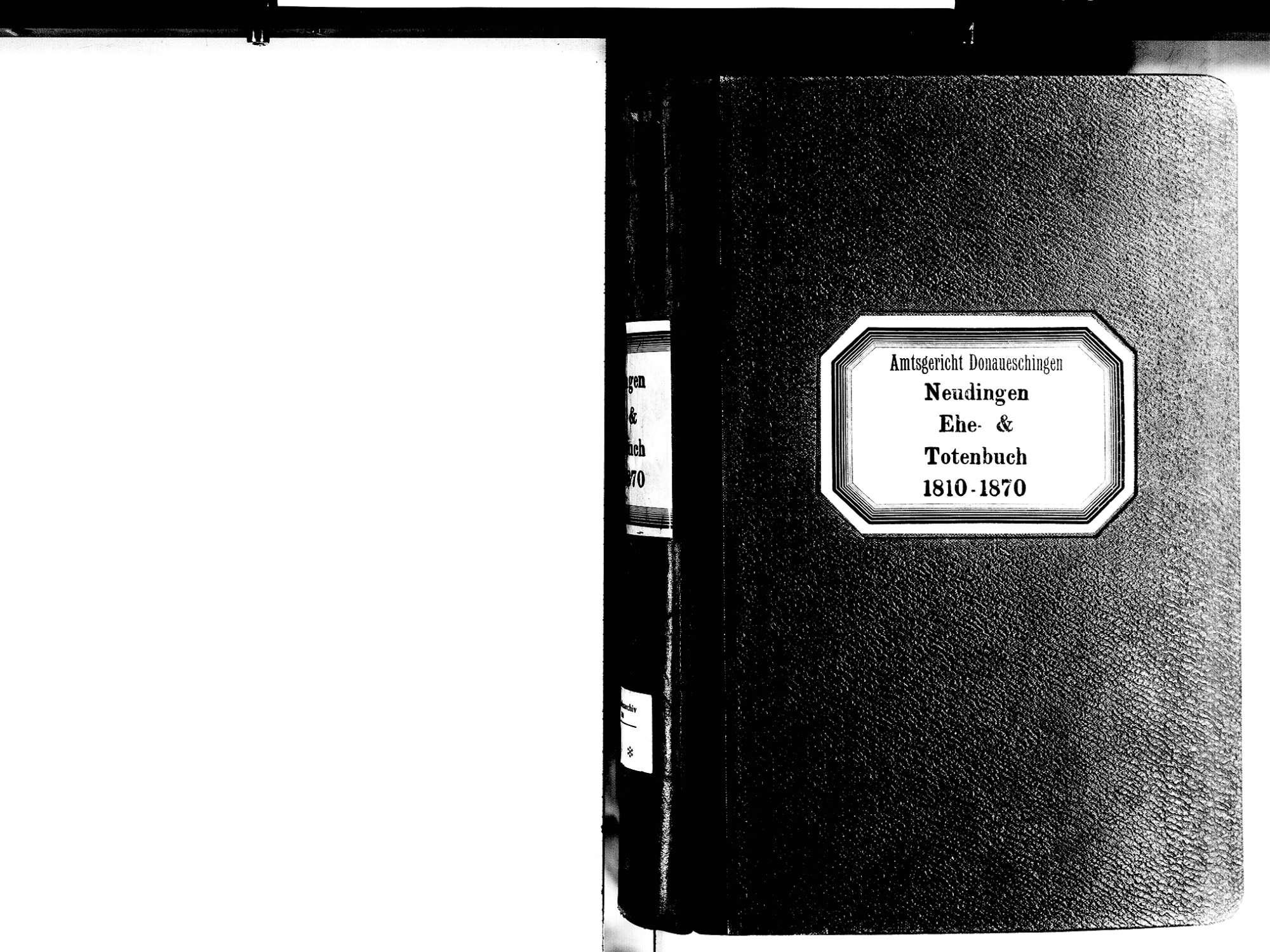 Neudingen, Donaueschingen VS; Katholische Gemeinde: Heiratsbuch 1810-1870 Neudingen, Donaueschingen VS; Katholische Gemeinde: Sterbebuch 1810-1870, Bild 2
