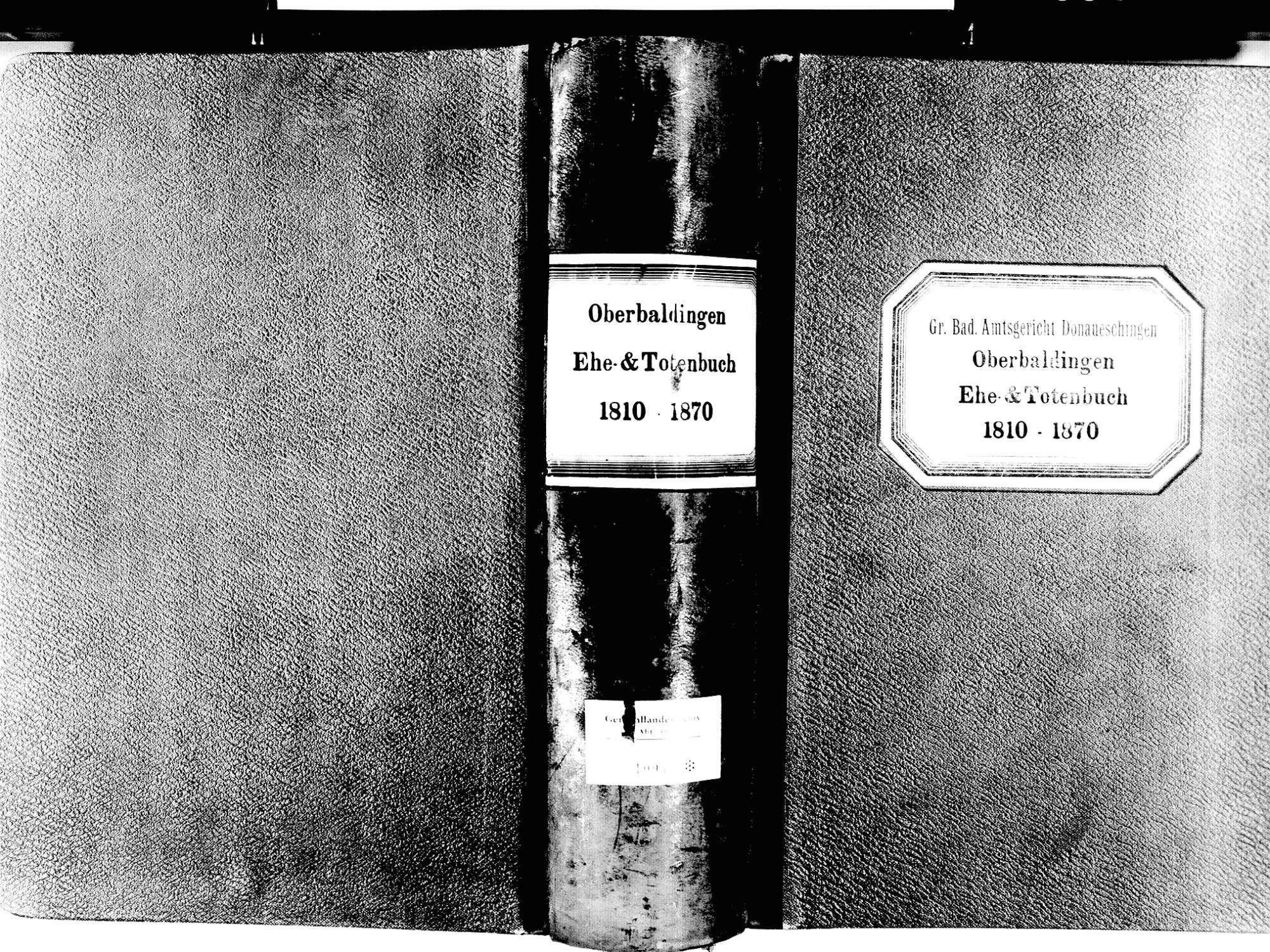 Oberbaldingen, Bad Dürrheim VS; Evangelische Gemeinde: Heiratsbuch 1810-1870 Oberbaldingen, Bad Dürrheim VS; Evangelische Gemeinde: Sterbebuch 1810-1870, Bild 1