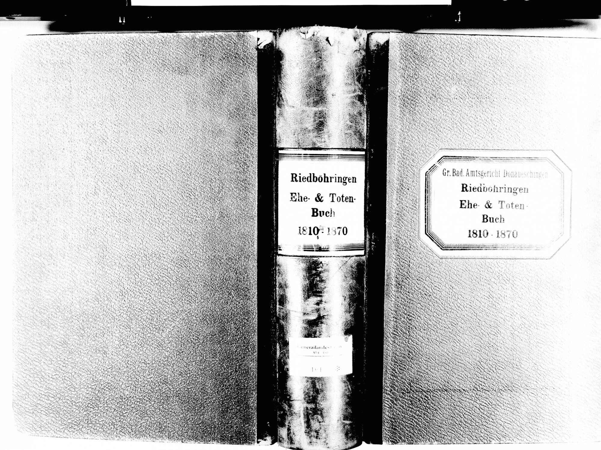 Riedböhringen, Blumberg VS; Katholische Gemeinde: Heiratsbuch 1810-1870 Riedböhringen, Blumberg VS; Katholische Gemeinde: Sterbebuch 1810-1870, Bild 1