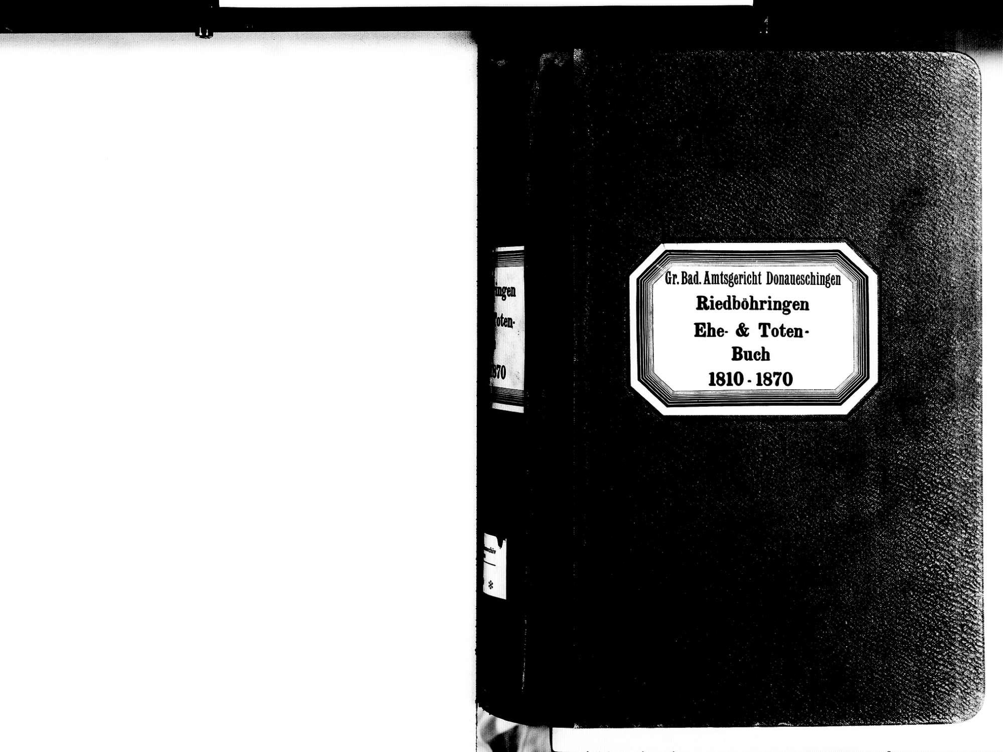 Riedböhringen, Blumberg VS; Katholische Gemeinde: Heiratsbuch 1810-1870 Riedböhringen, Blumberg VS; Katholische Gemeinde: Sterbebuch 1810-1870, Bild 2