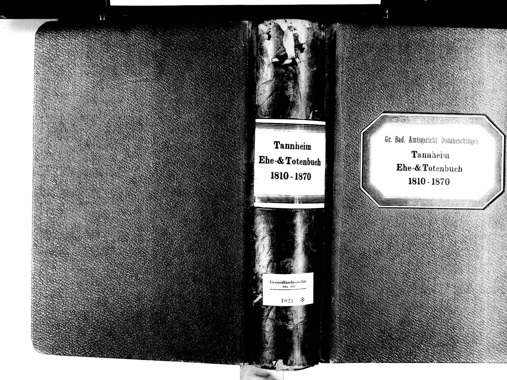 Tannheim, Villingen-Schwenningen VS; Katholische Gemeinde: Heiratsbuch 1810-1870 Tannheim, Villingen-Schwenningen VS; Katholische Gemeinde: Sterbebuch 1810-1870, Bild 1