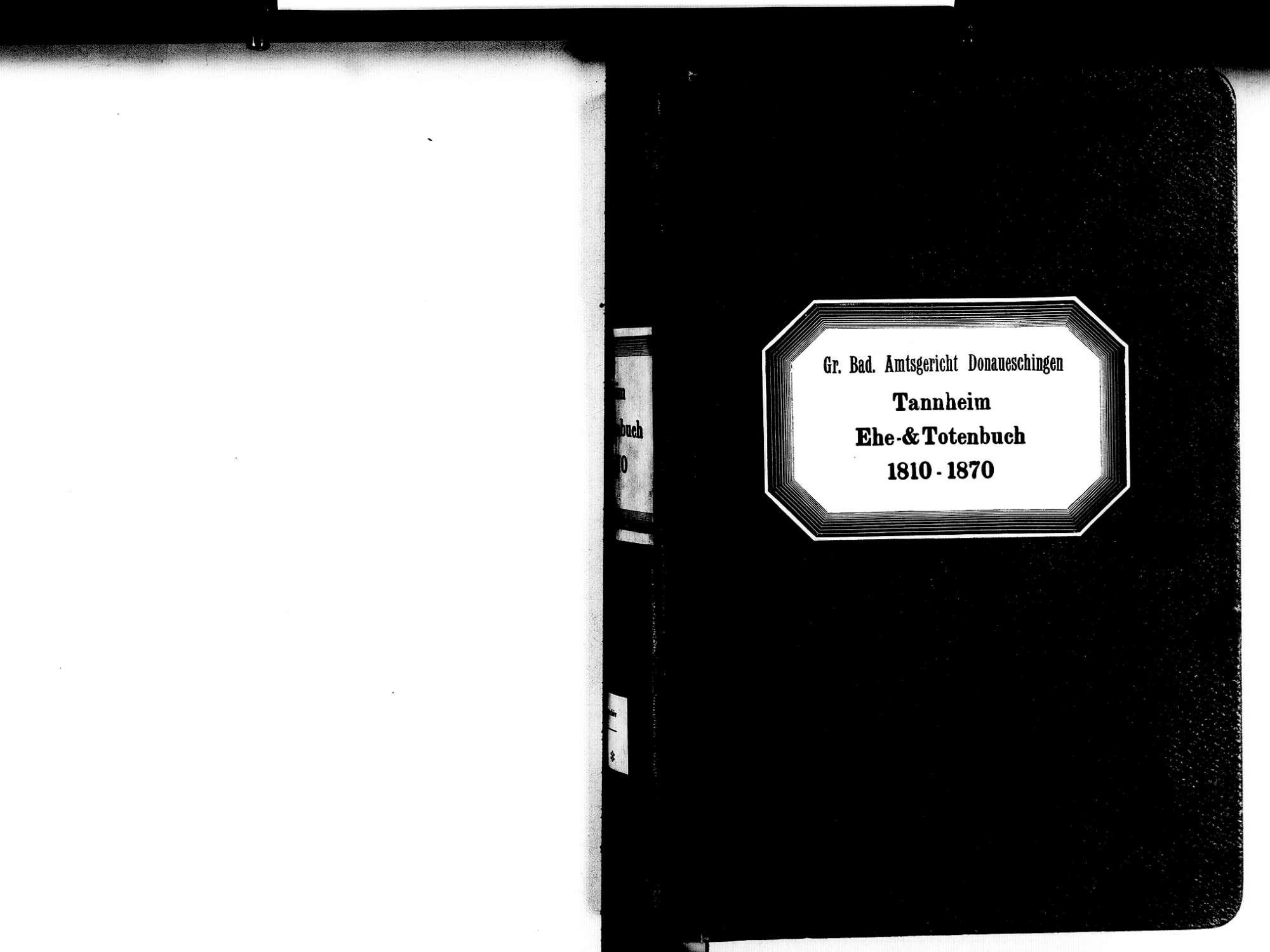 Tannheim, Villingen-Schwenningen VS; Katholische Gemeinde: Heiratsbuch 1810-1870 Tannheim, Villingen-Schwenningen VS; Katholische Gemeinde: Sterbebuch 1810-1870, Bild 2